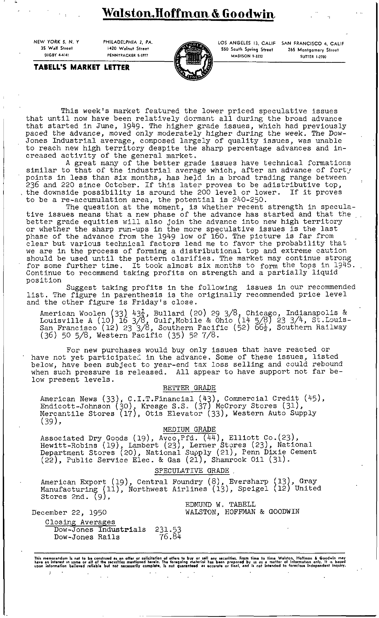 Tabell's Market Letter - December 22, 1950