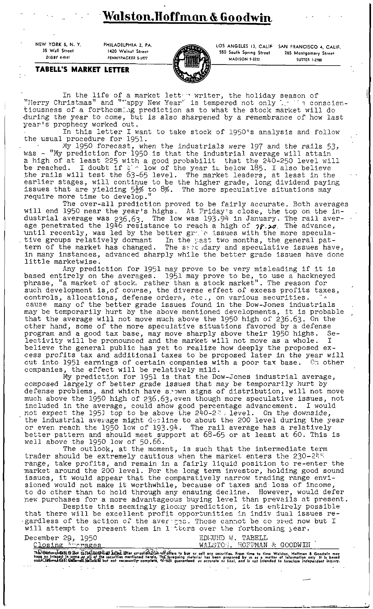 Tabell's Market Letter - December 29, 1950