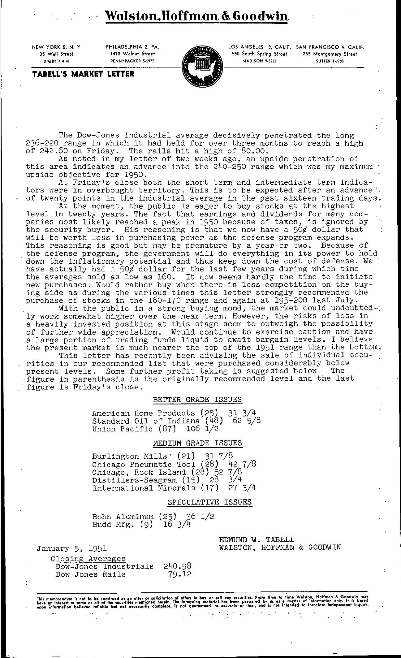 Tabell's Market Letter - January 05, 1951