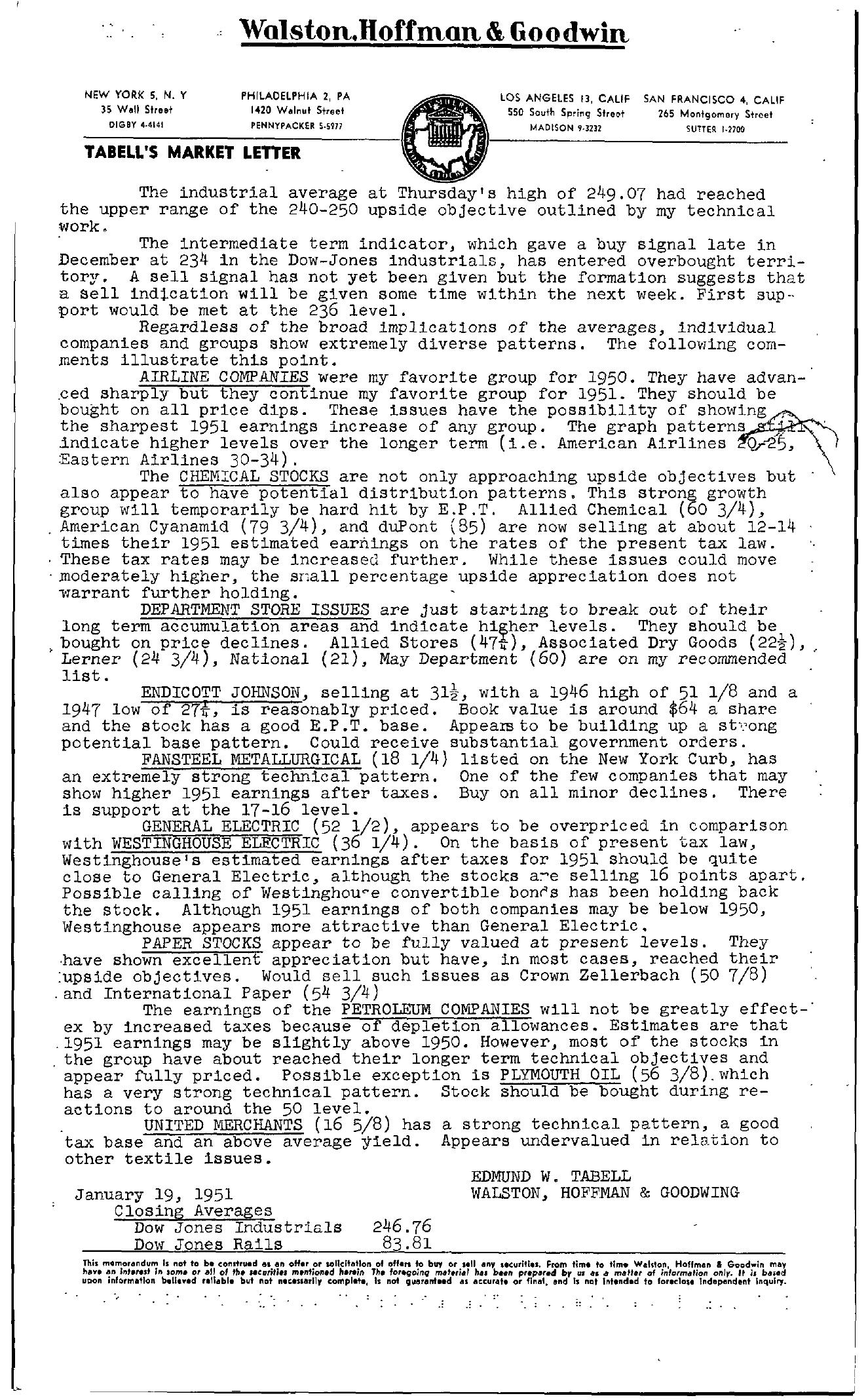 Tabell's Market Letter - January 19, 1951