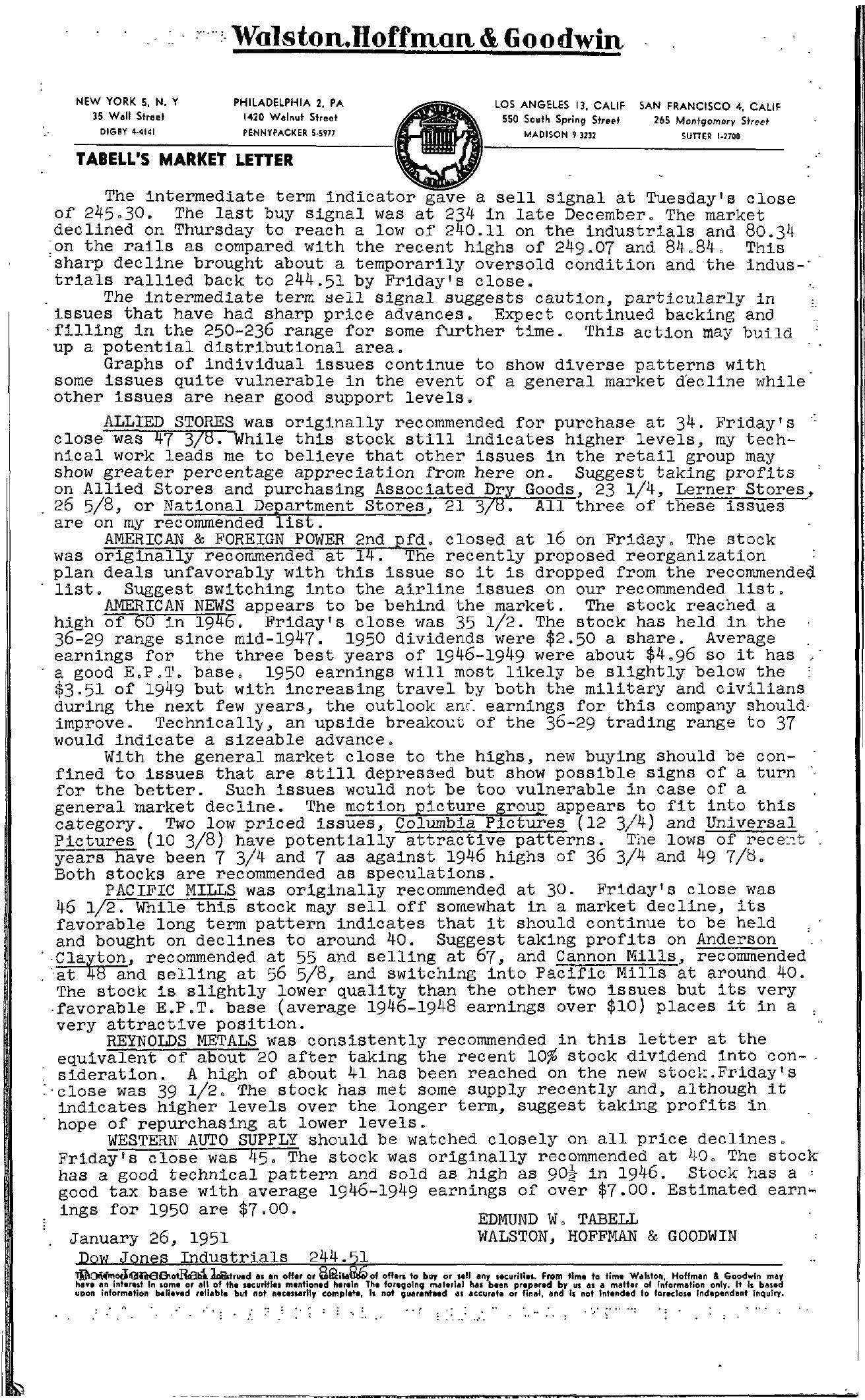Tabell's Market Letter - January 26, 1951