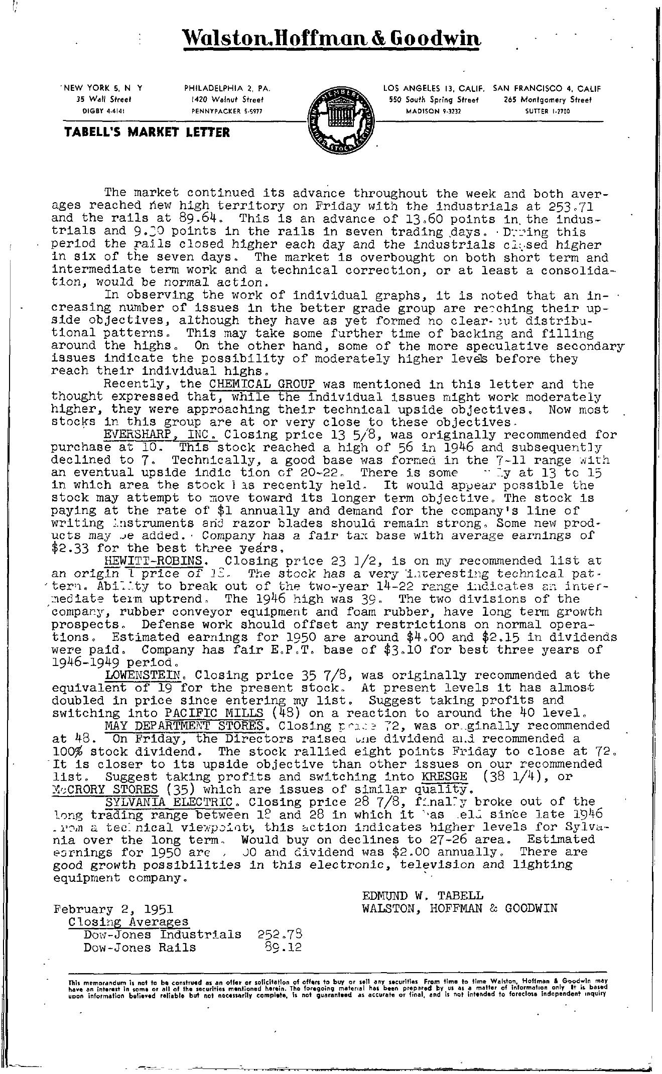 Tabell's Market Letter - February 02, 1951