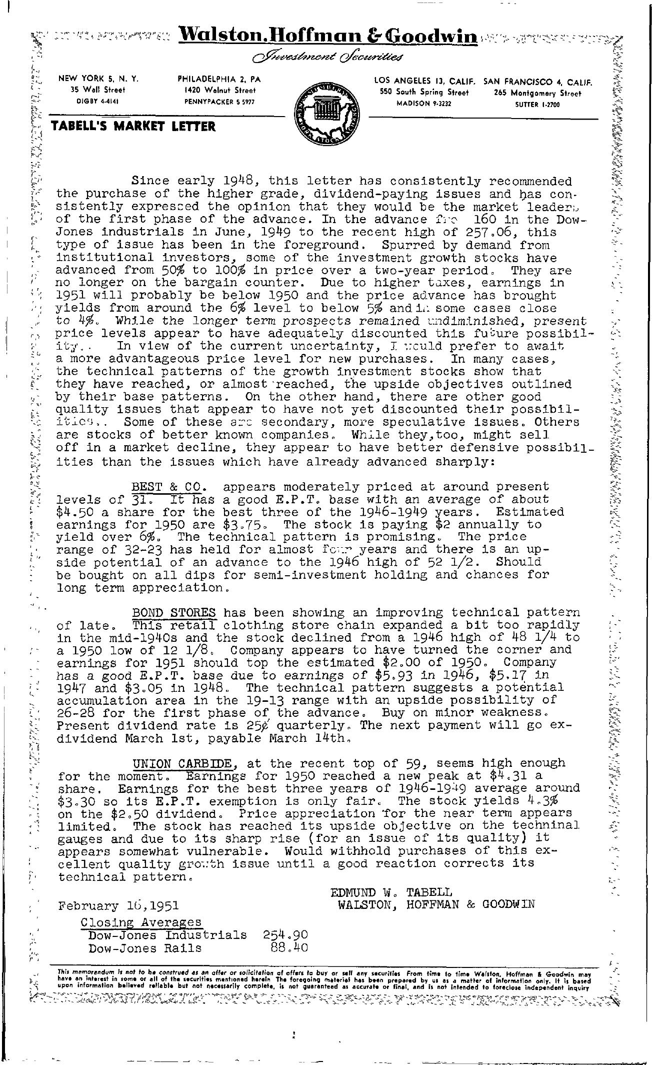 Tabell's Market Letter - February 16, 1951