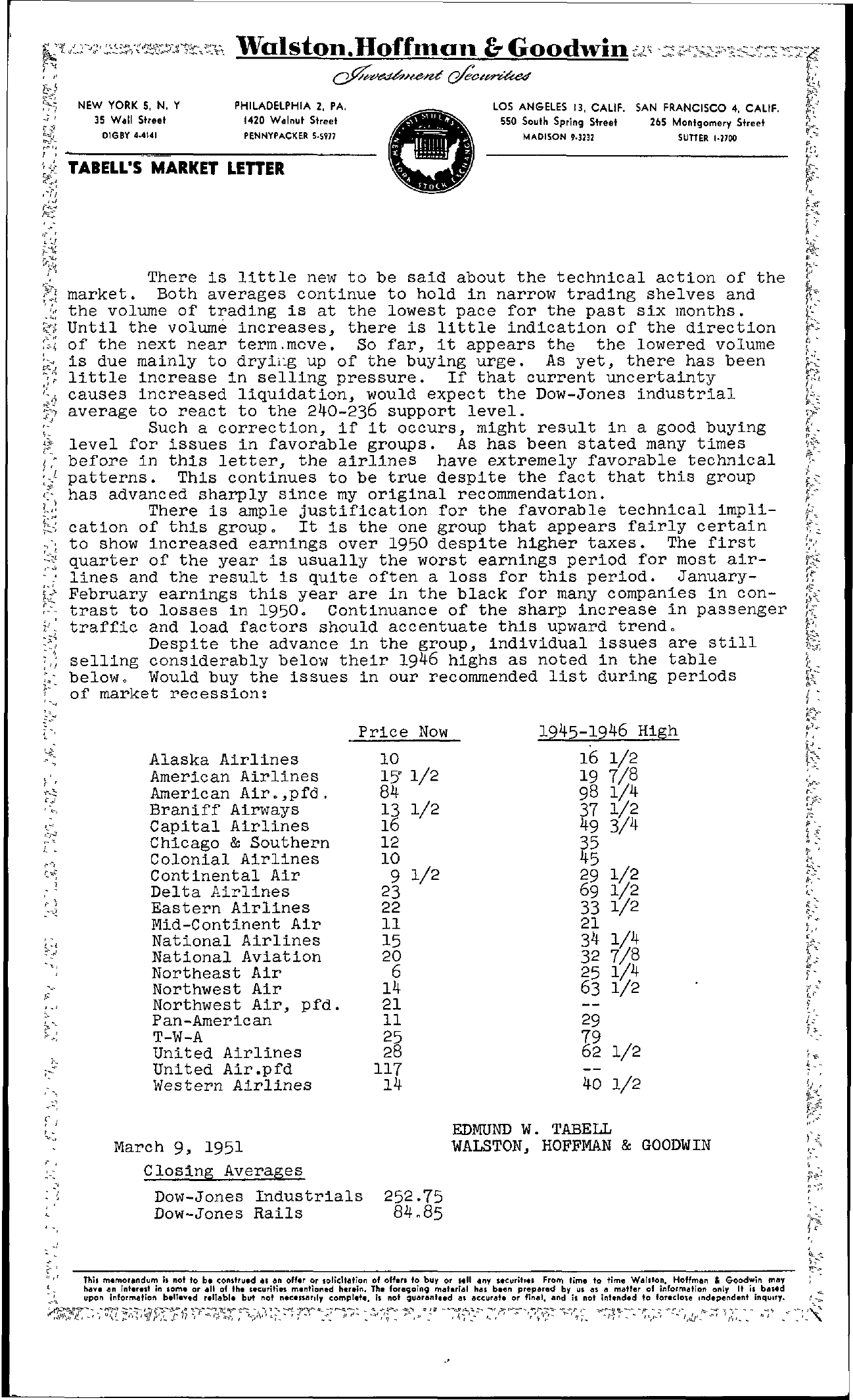 Tabell's Market Letter - March 09, 1951
