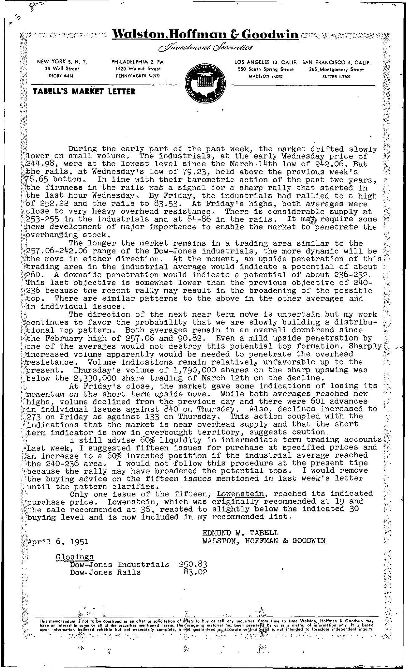 Tabell's Market Letter - April 06, 1951