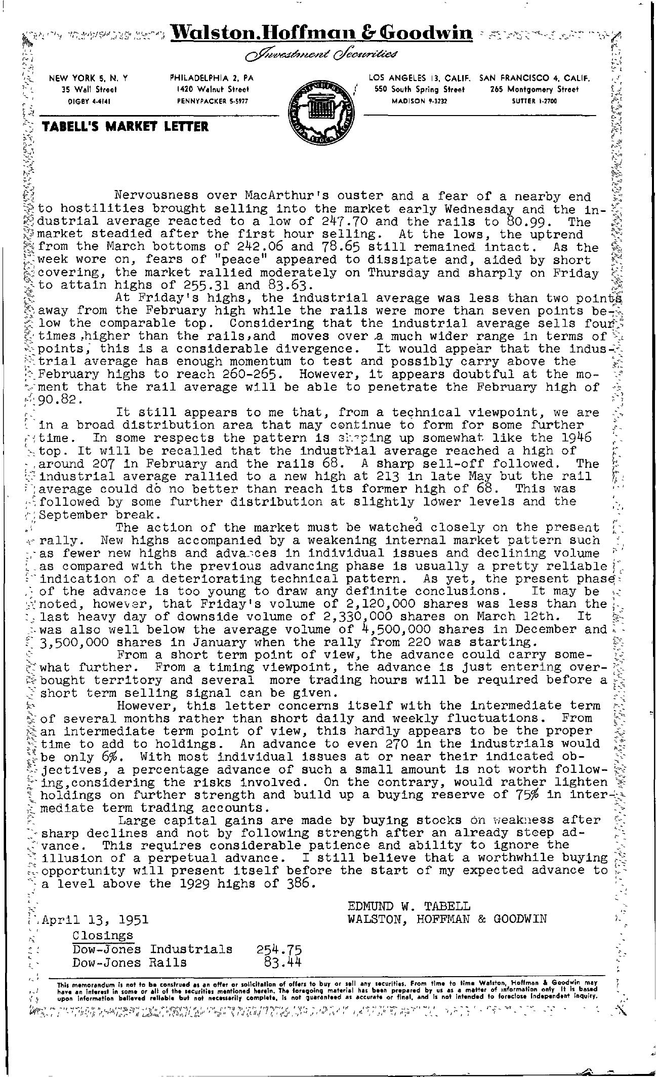 Tabell's Market Letter - April 13, 1951