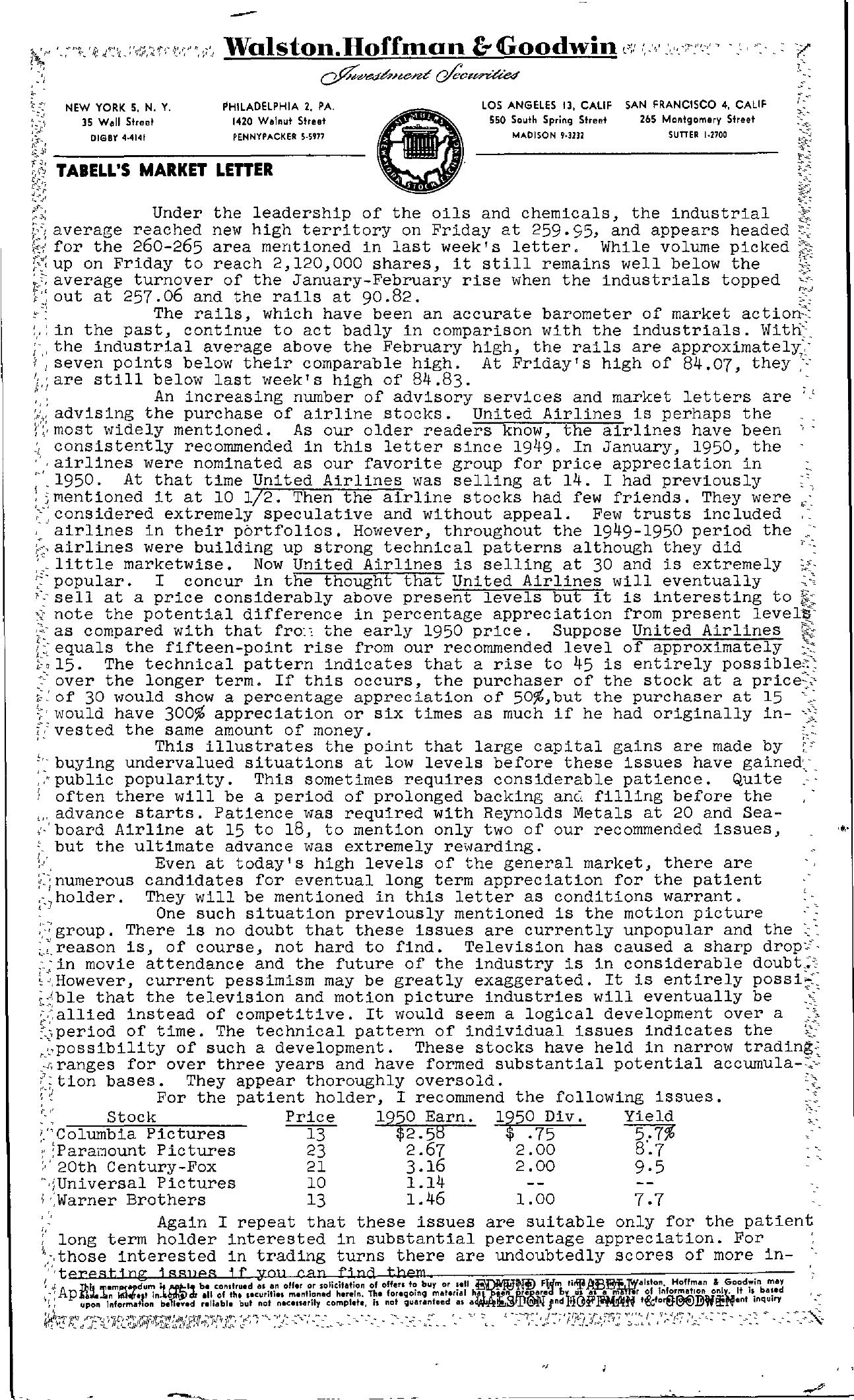 Tabell's Market Letter - April 27, 1951
