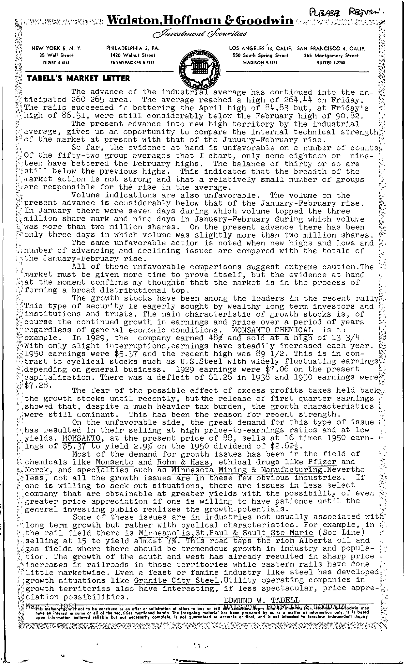 Tabell's Market Letter - May 04, 1951