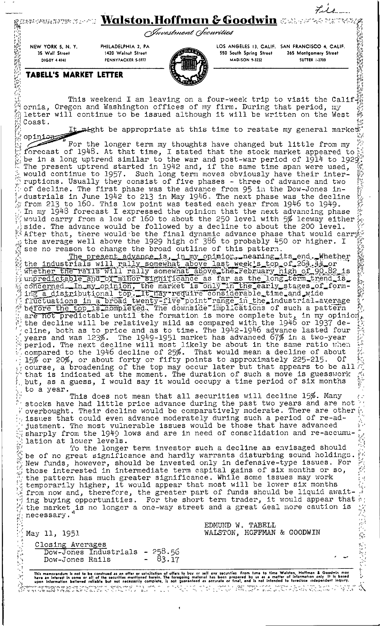 Tabell's Market Letter - May 11, 1951