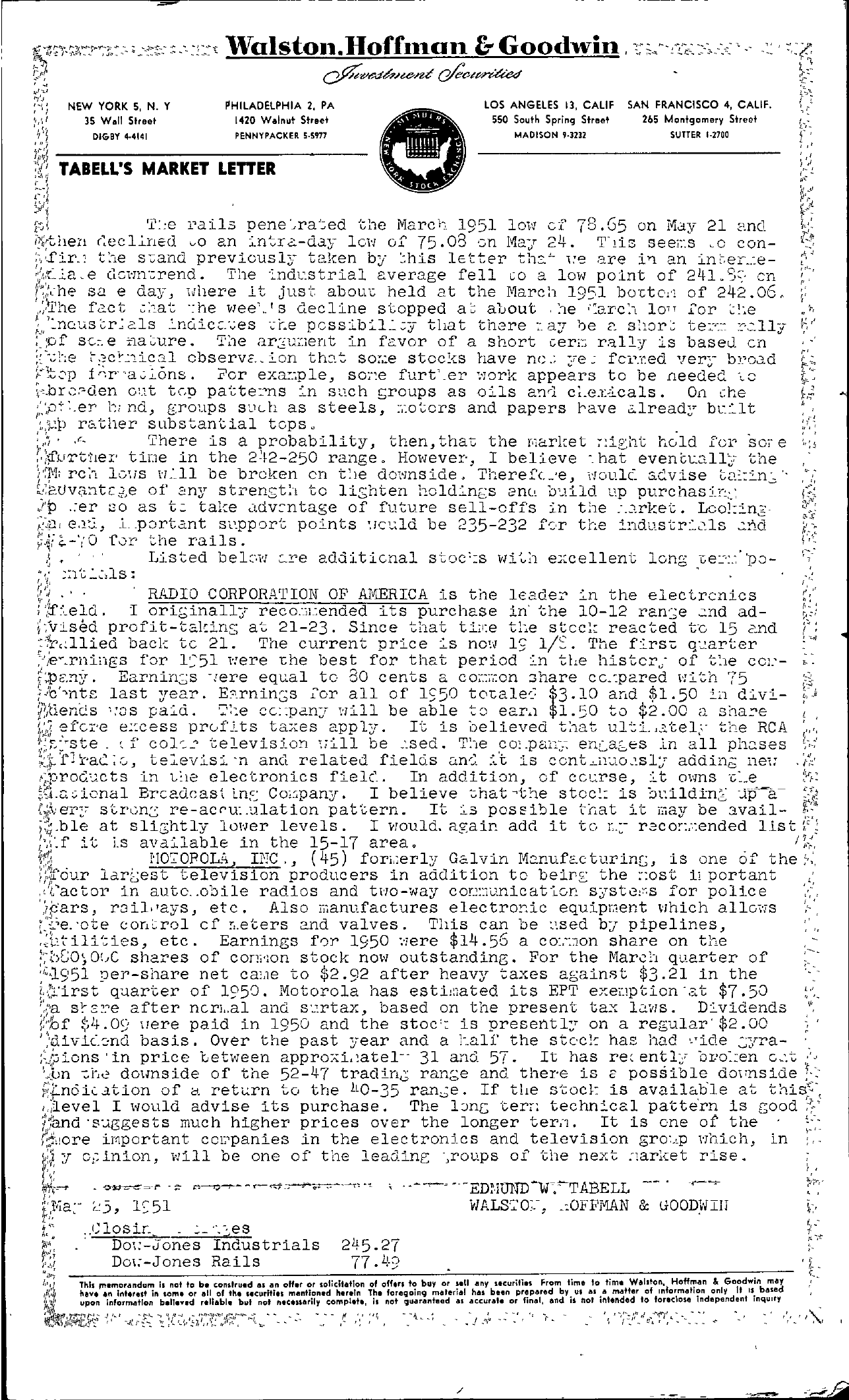Tabell's Market Letter - May 23, 1951