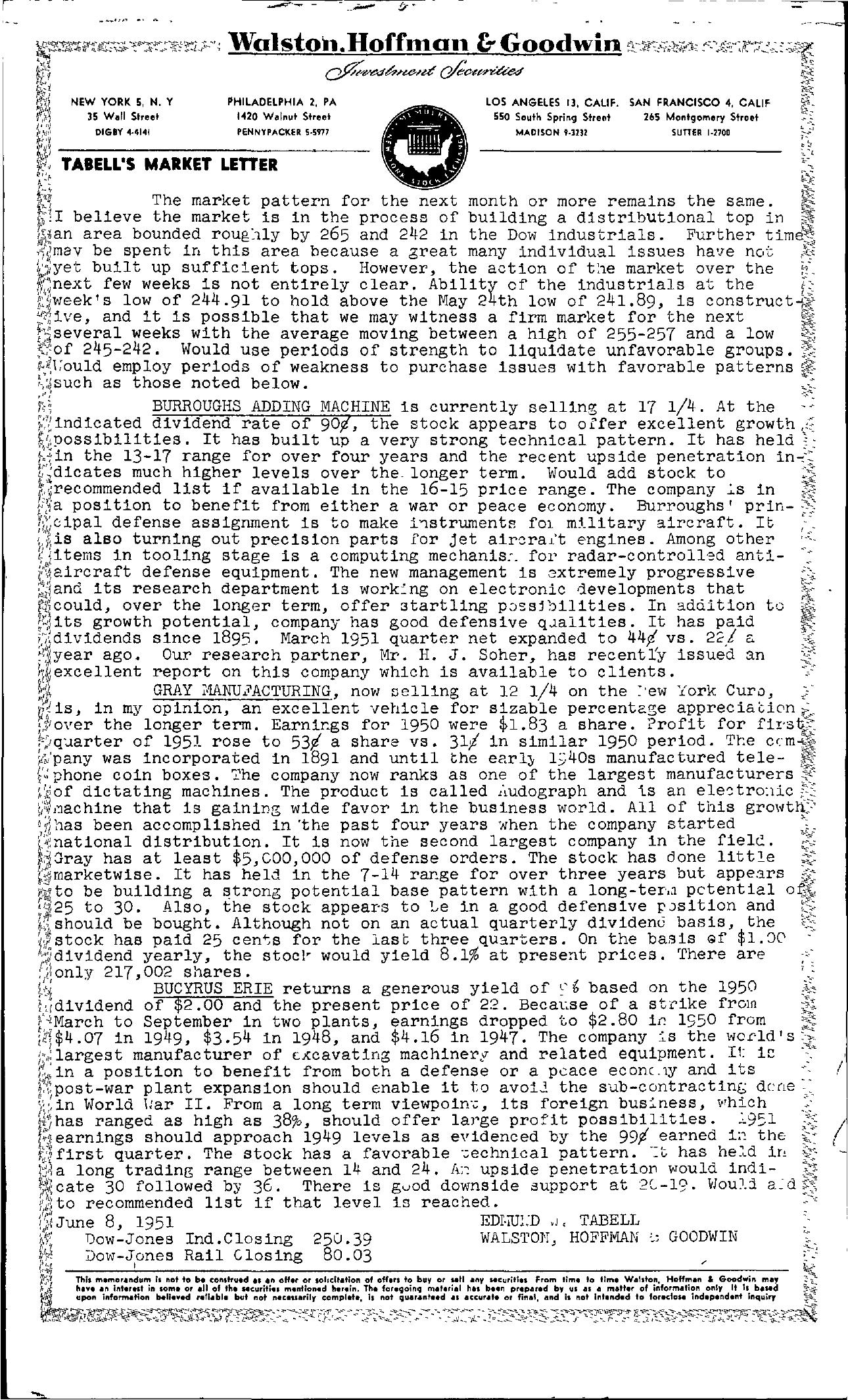 Tabell's Market Letter - June 08, 1951