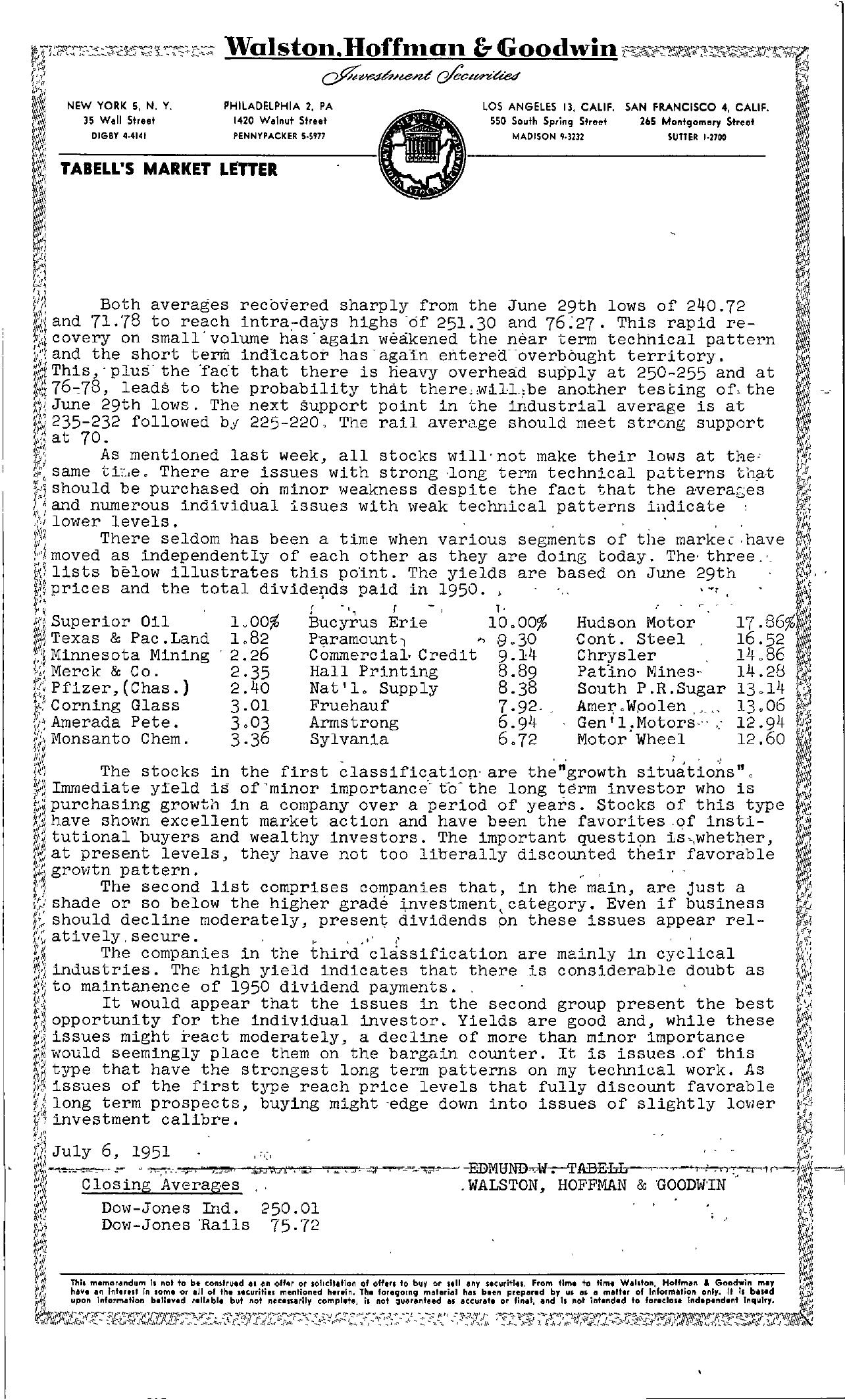 Tabell's Market Letter - July 06, 1951
