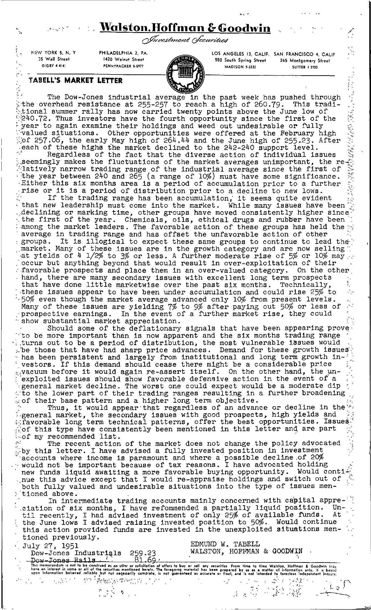 Tabell's Market Letter - July 27, 1951