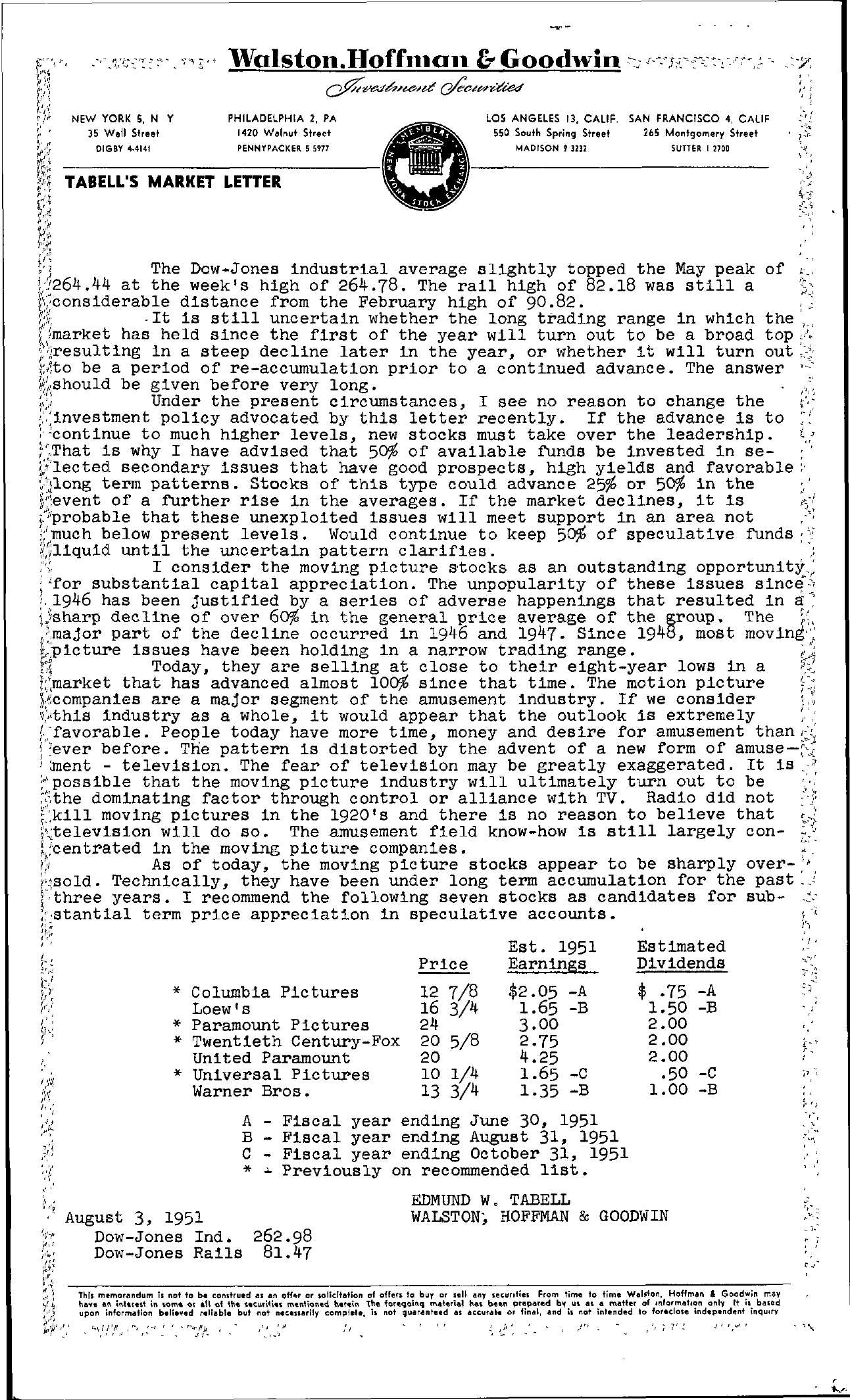 Tabell's Market Letter - August 03, 1951