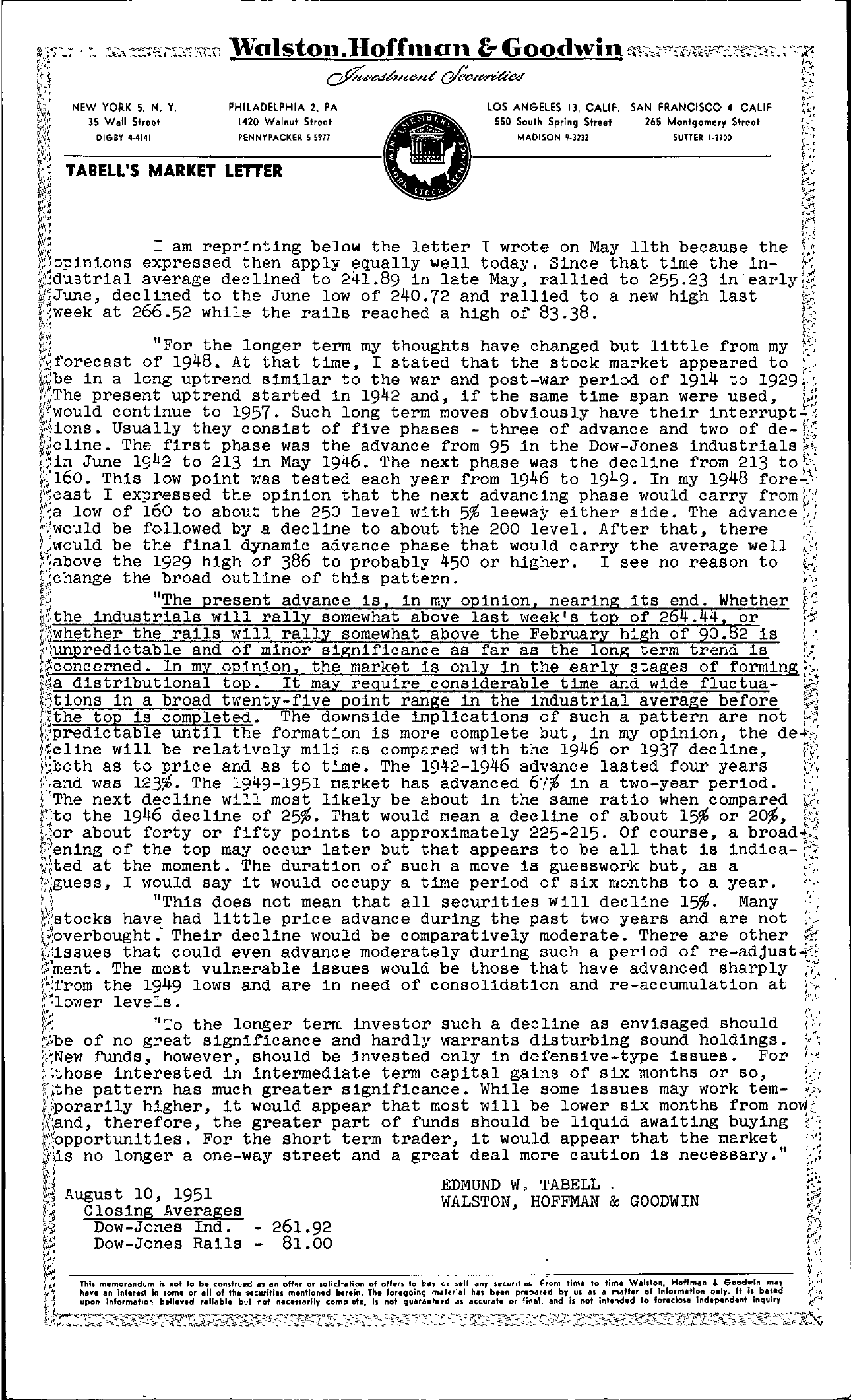 Tabell's Market Letter - August 10, 1951