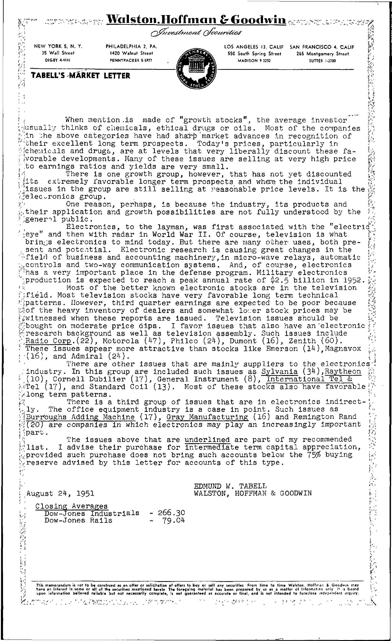 Tabell's Market Letter - August 24, 1951
