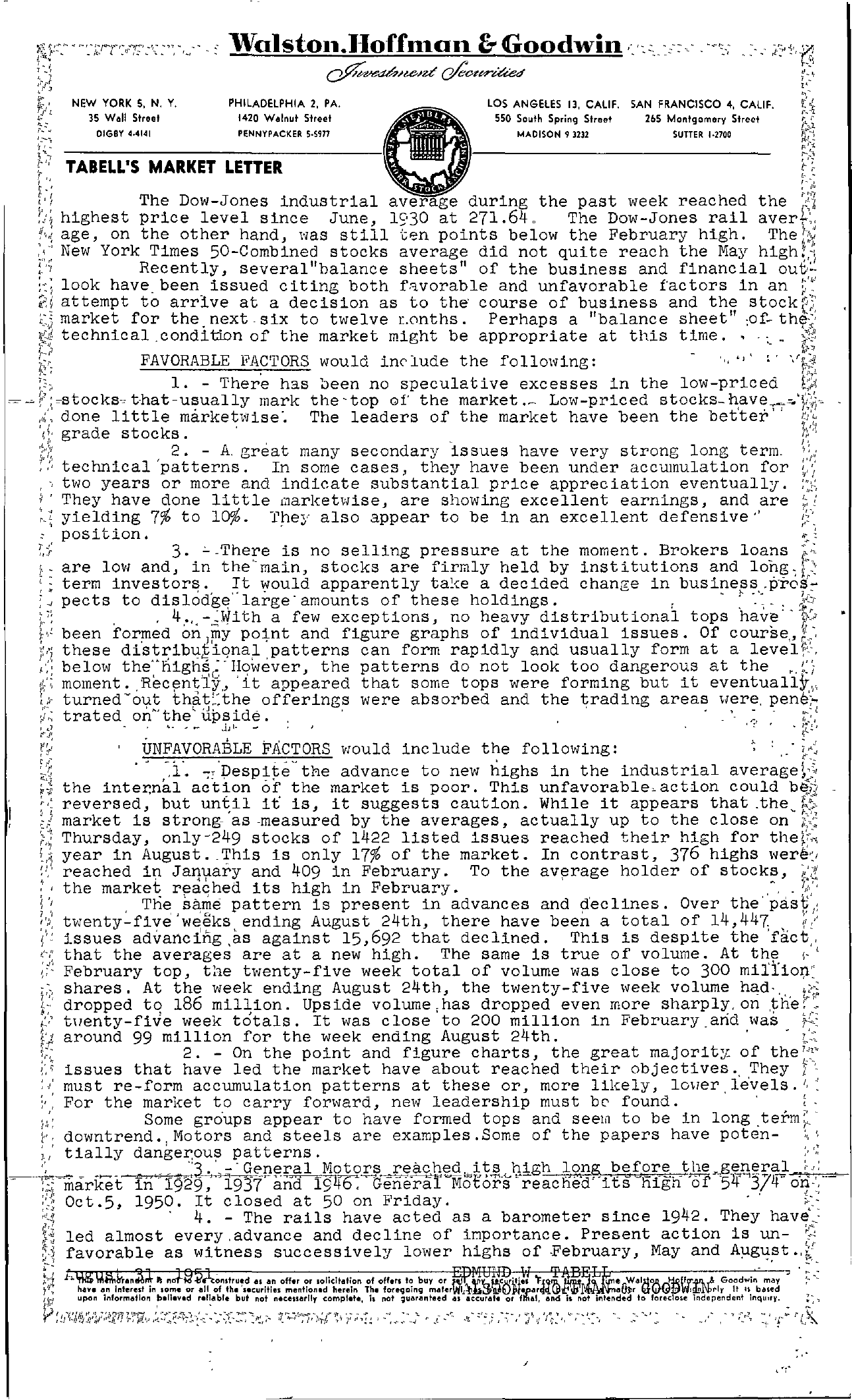 Tabell's Market Letter - August 31, 1951