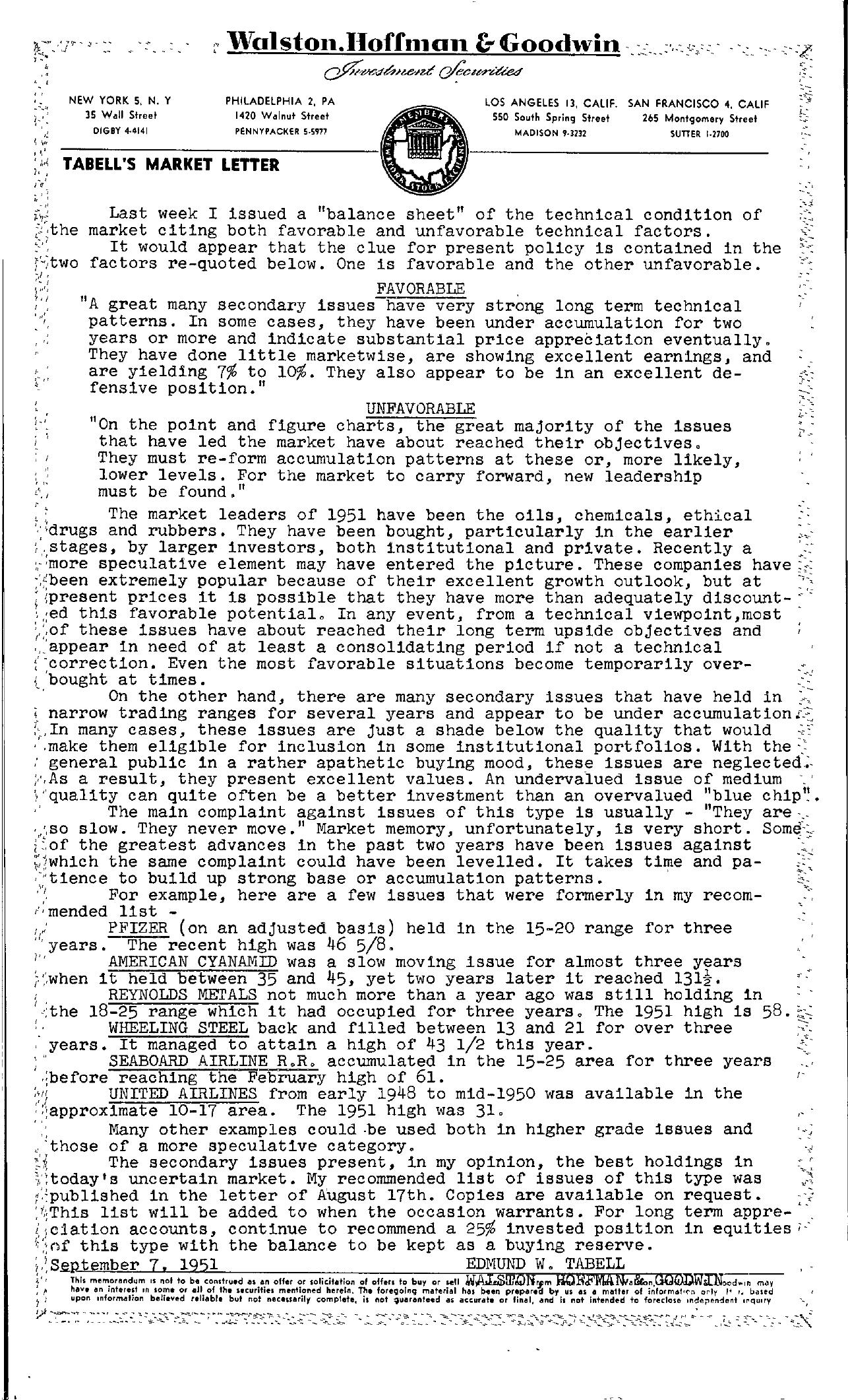 Tabell's Market Letter - September 07, 1951
