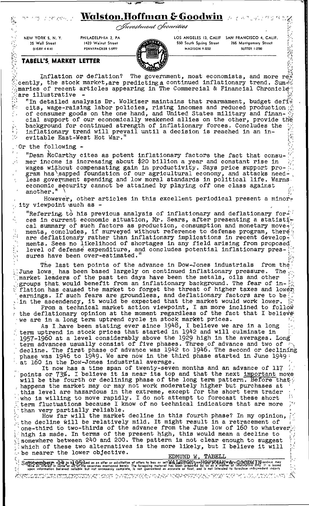 Tabell's Market Letter - September 14, 1951