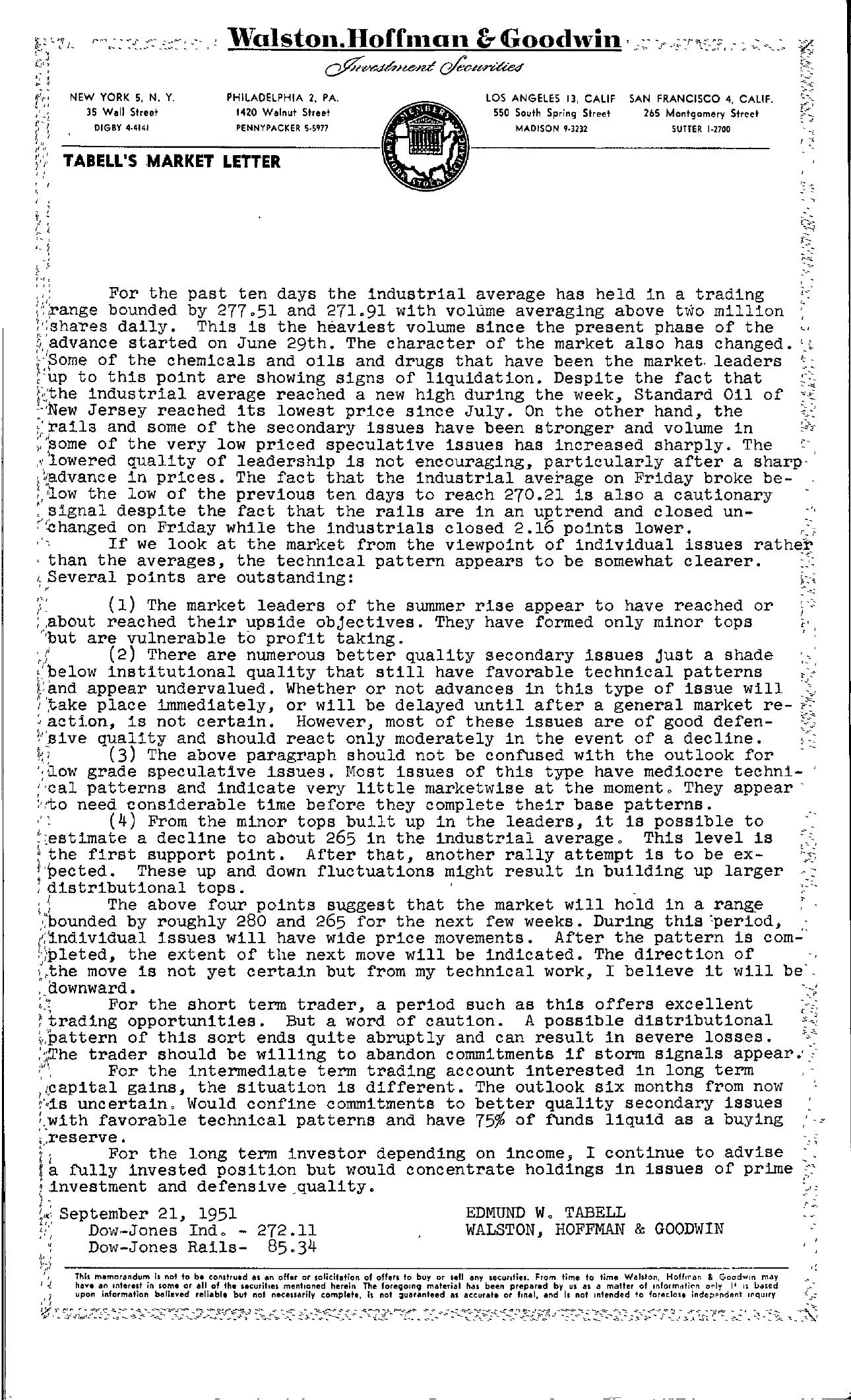 Tabell's Market Letter - September 21, 1951