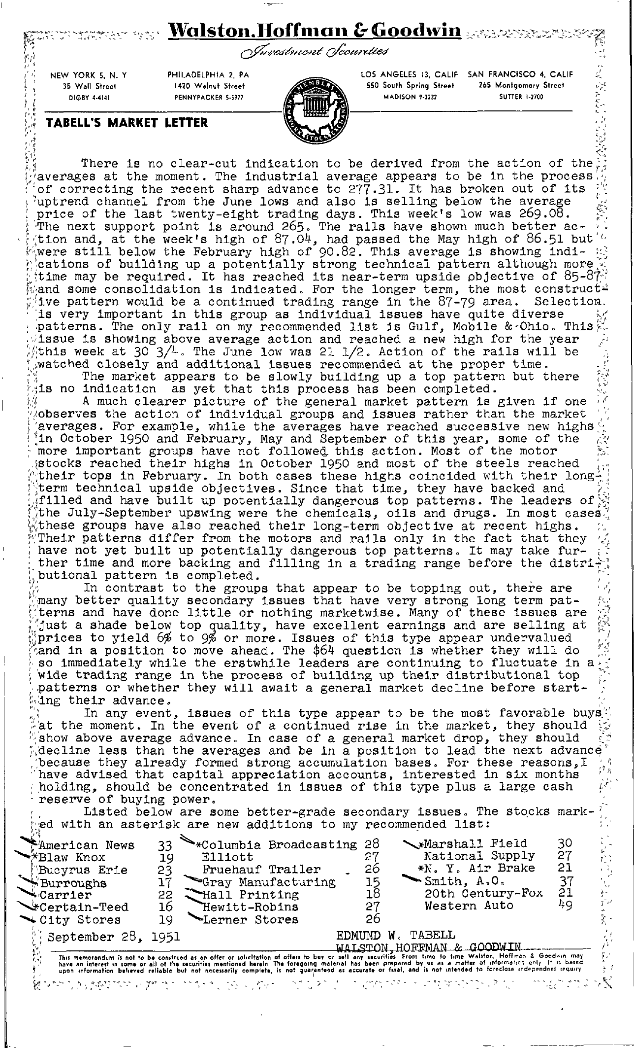 Tabell's Market Letter - September 28, 1951