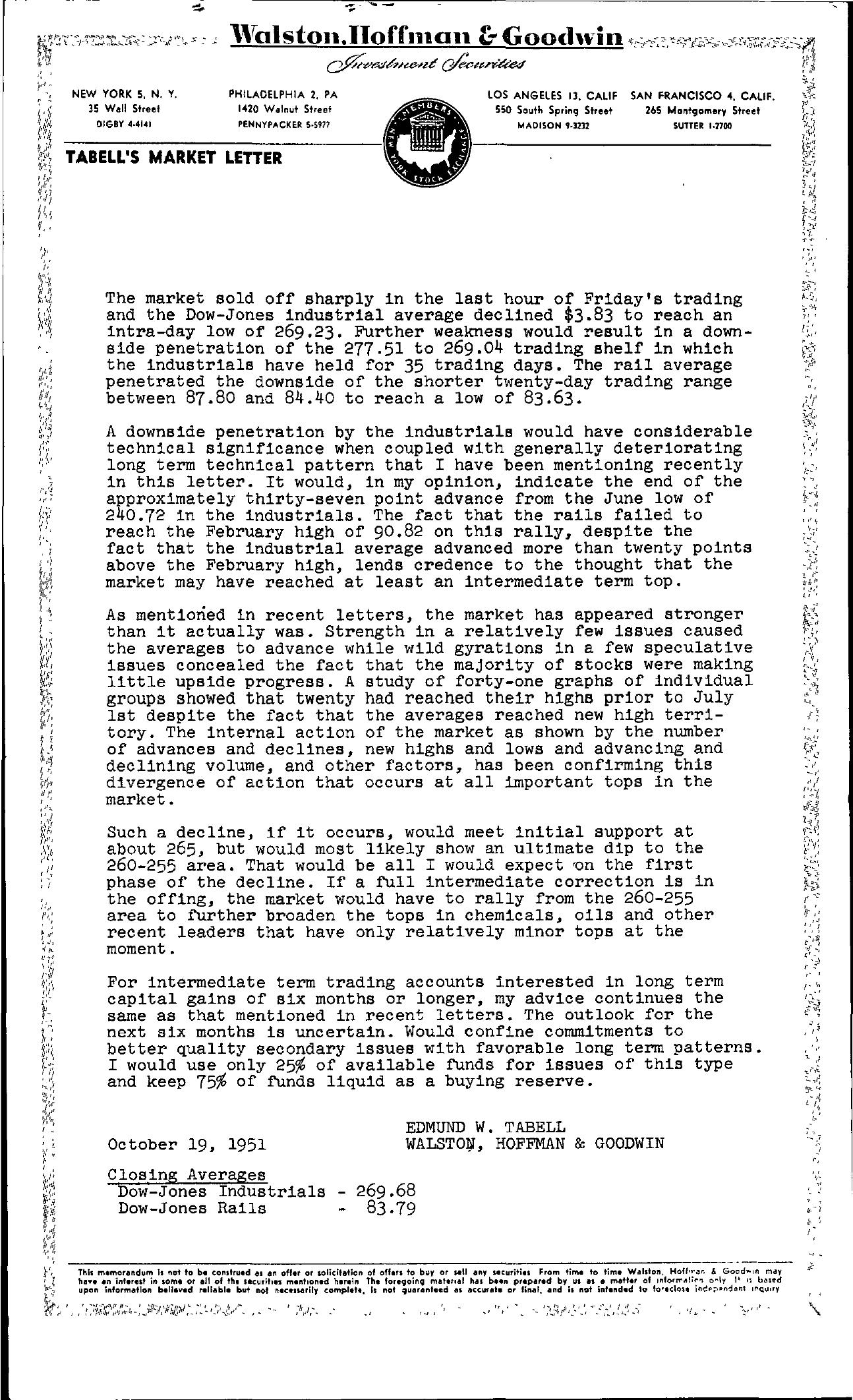 Tabell's Market Letter - October 19, 1951