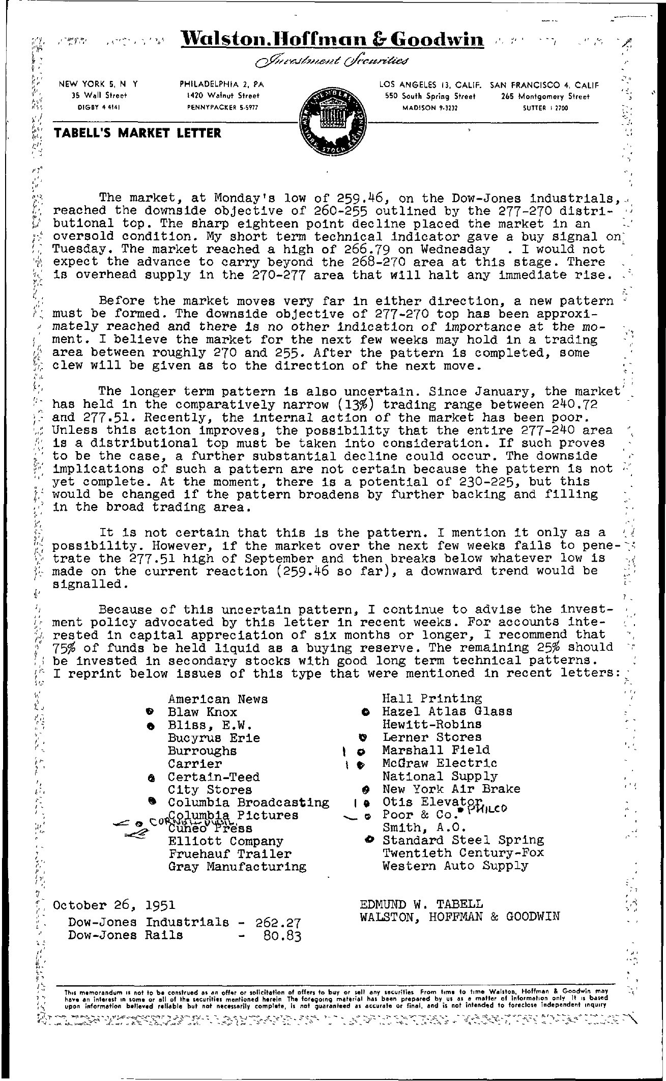 Tabell's Market Letter - October 26, 1951