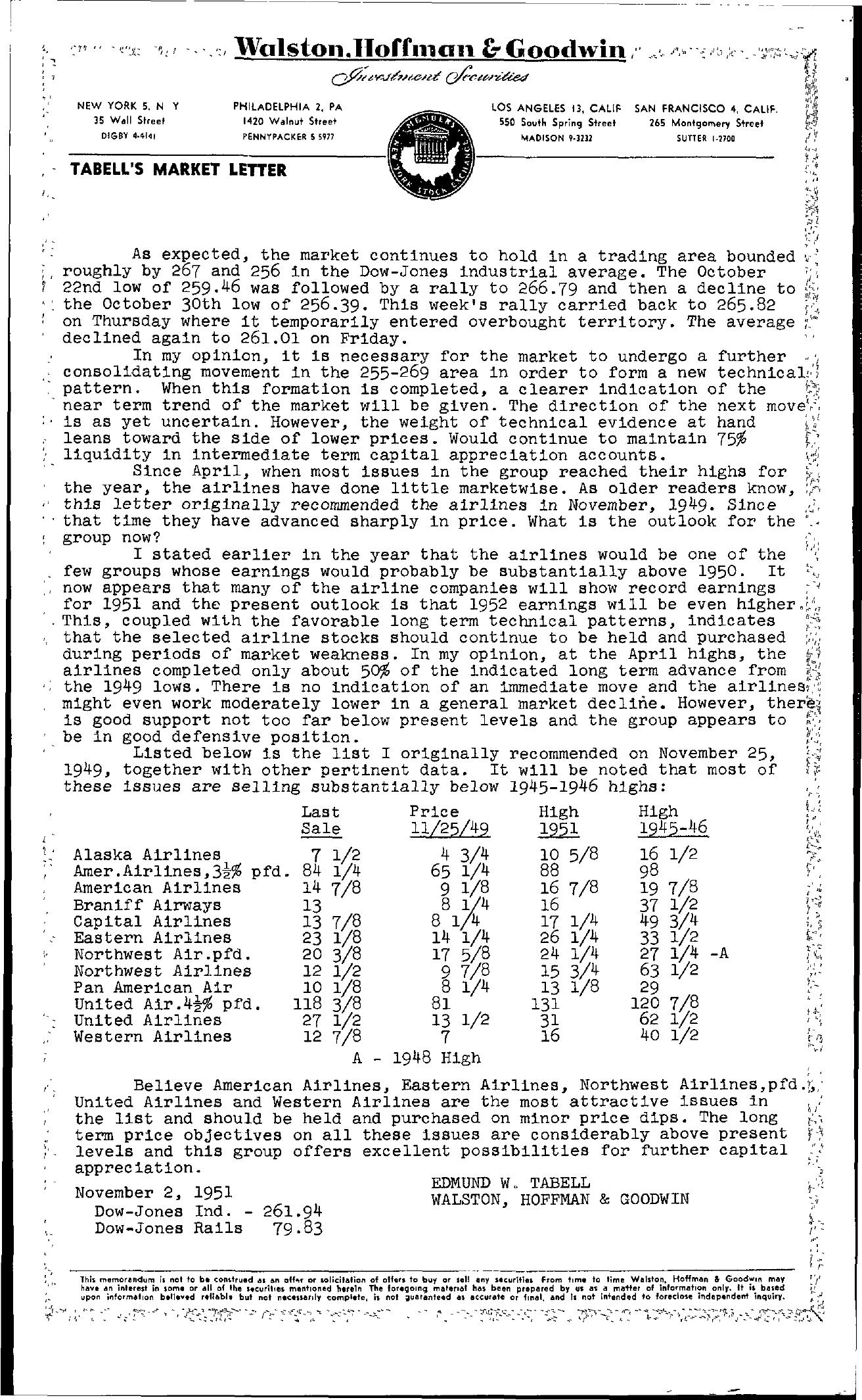 Tabell's Market Letter - November 02, 1951