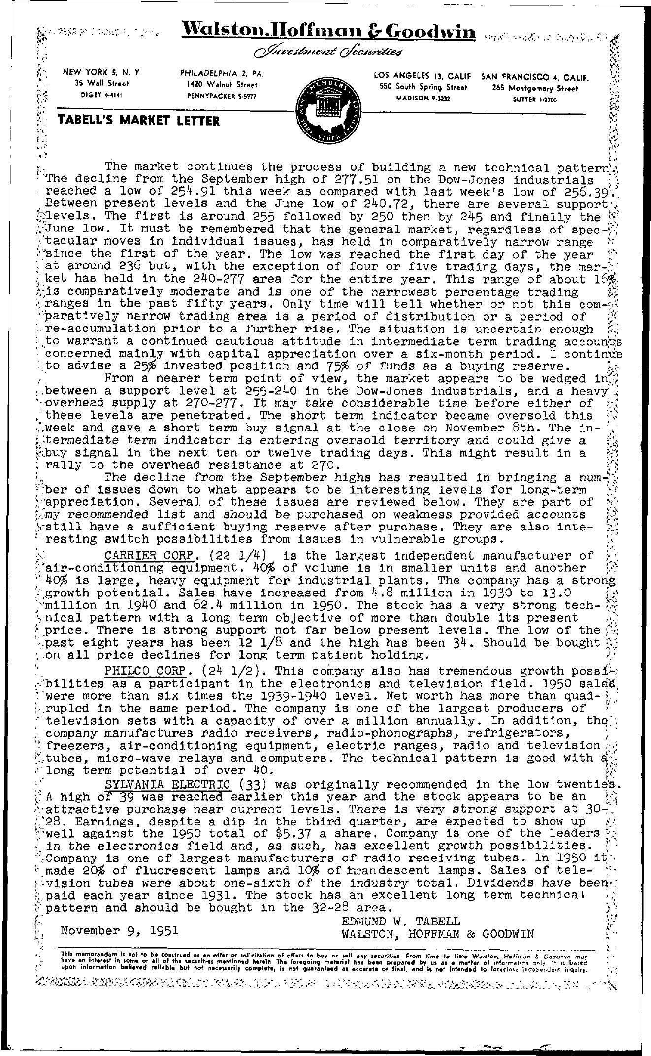 Tabell's Market Letter - November 09, 1951