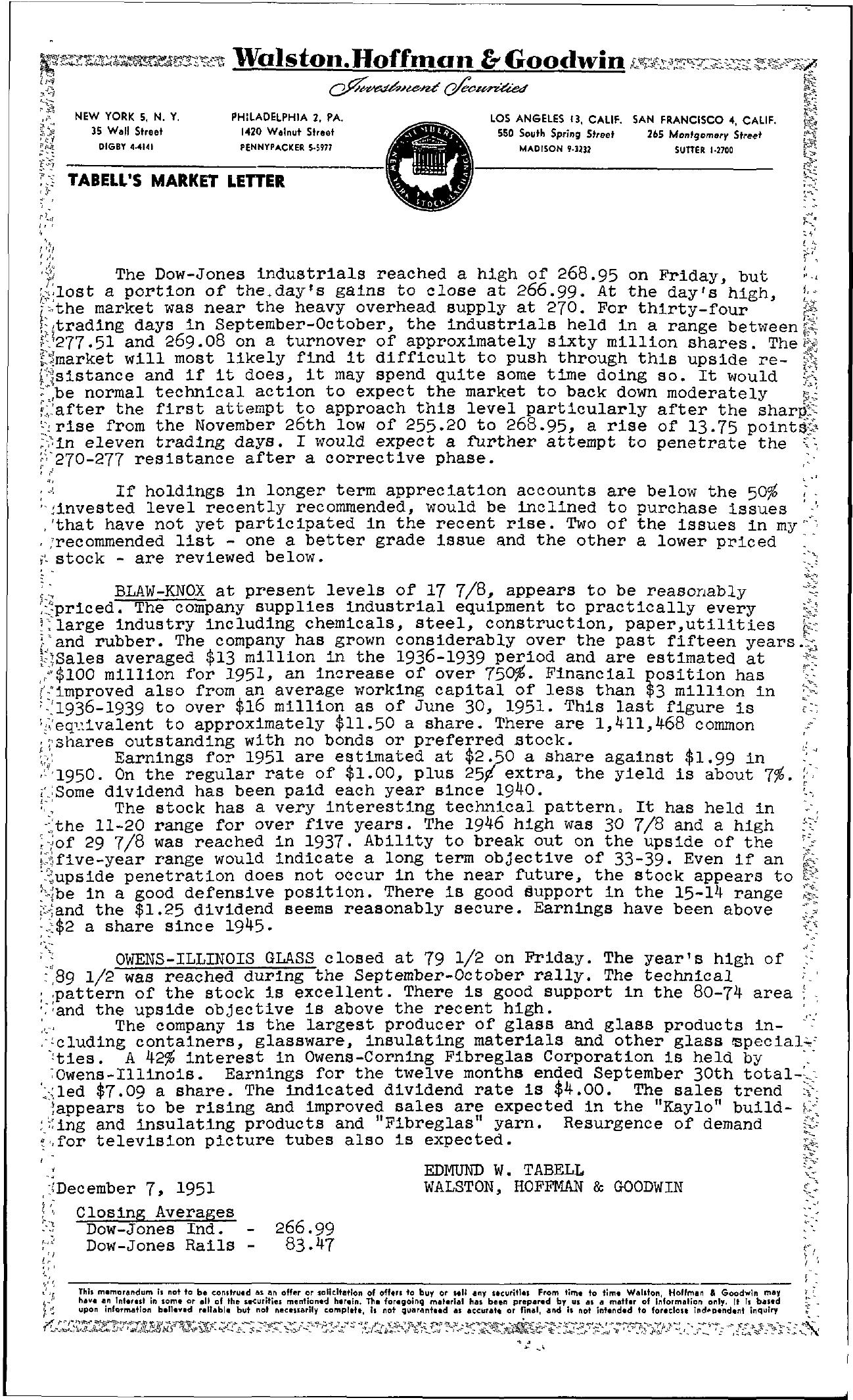 Tabell's Market Letter - December 07, 1951