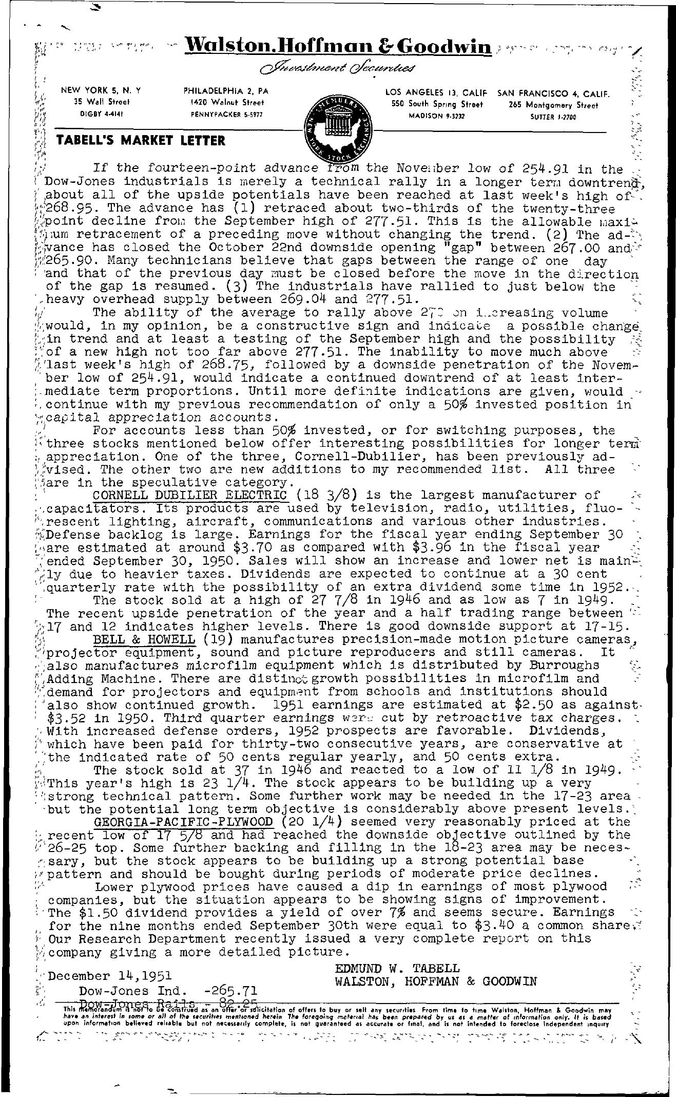 Tabell's Market Letter - December 14, 1951