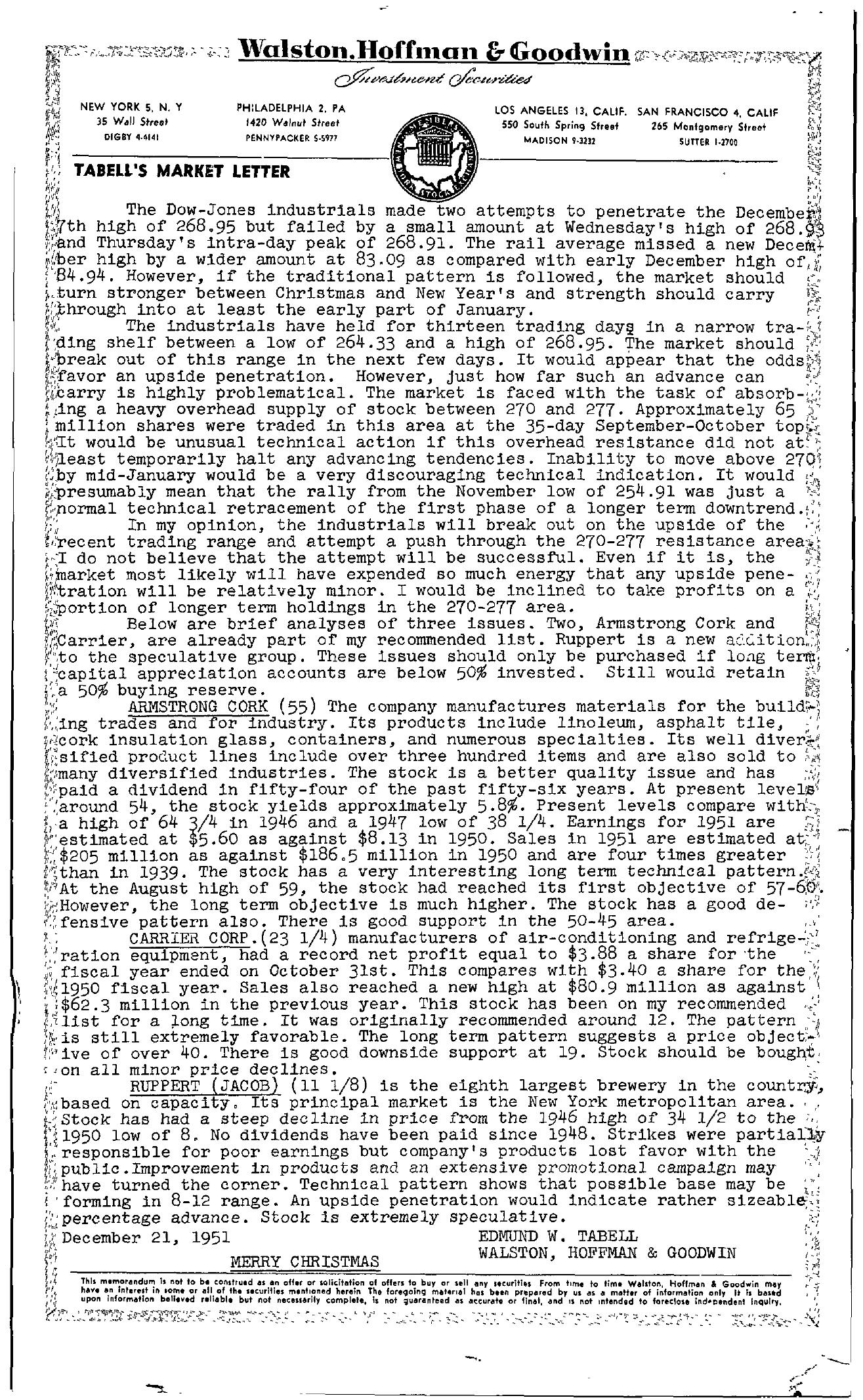 Tabell's Market Letter - December 21, 1951
