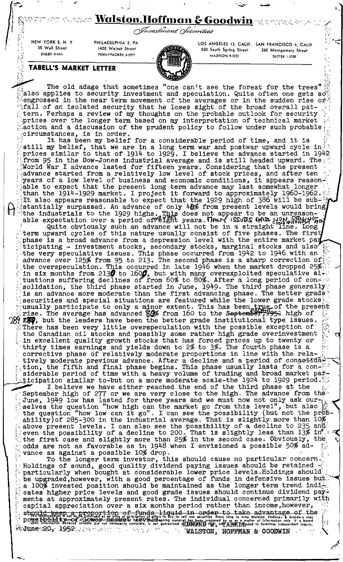 Tabell's Market Letter - June 20, 1952