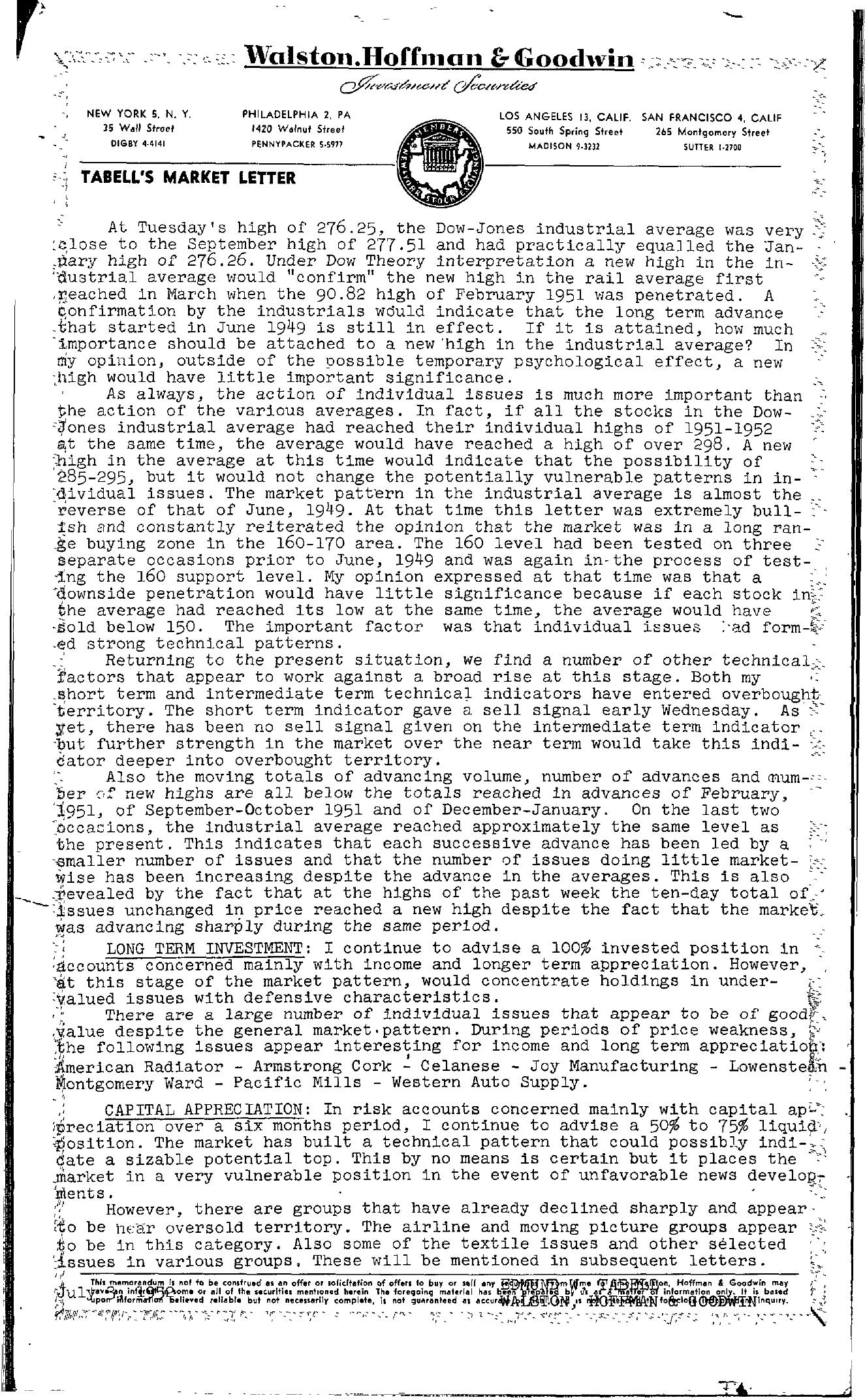 Tabell's Market Letter - July 03, 1952