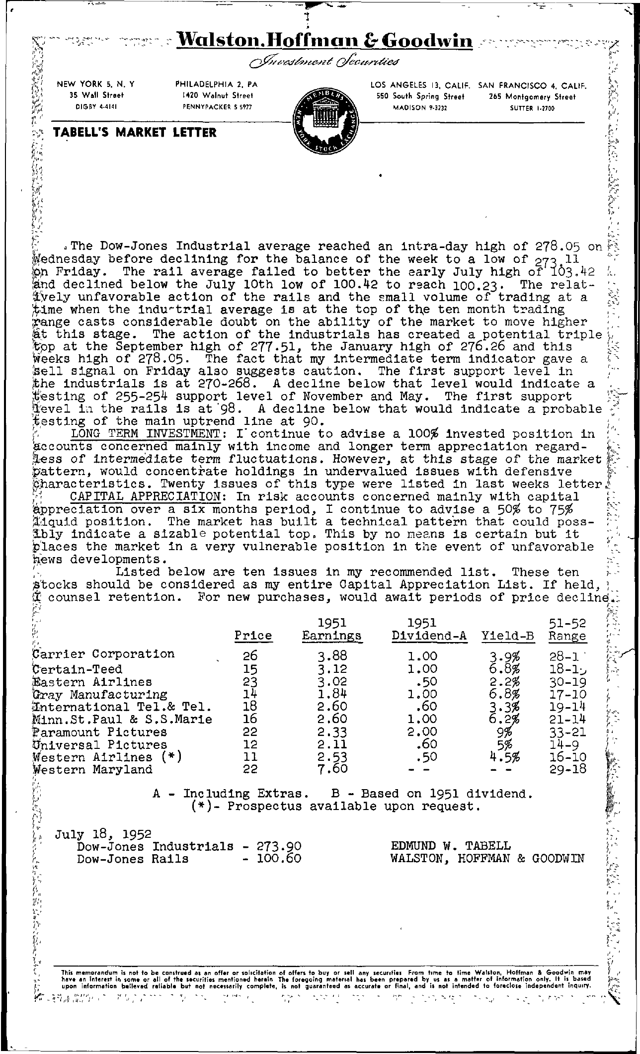 Tabell's Market Letter - July 18, 1952