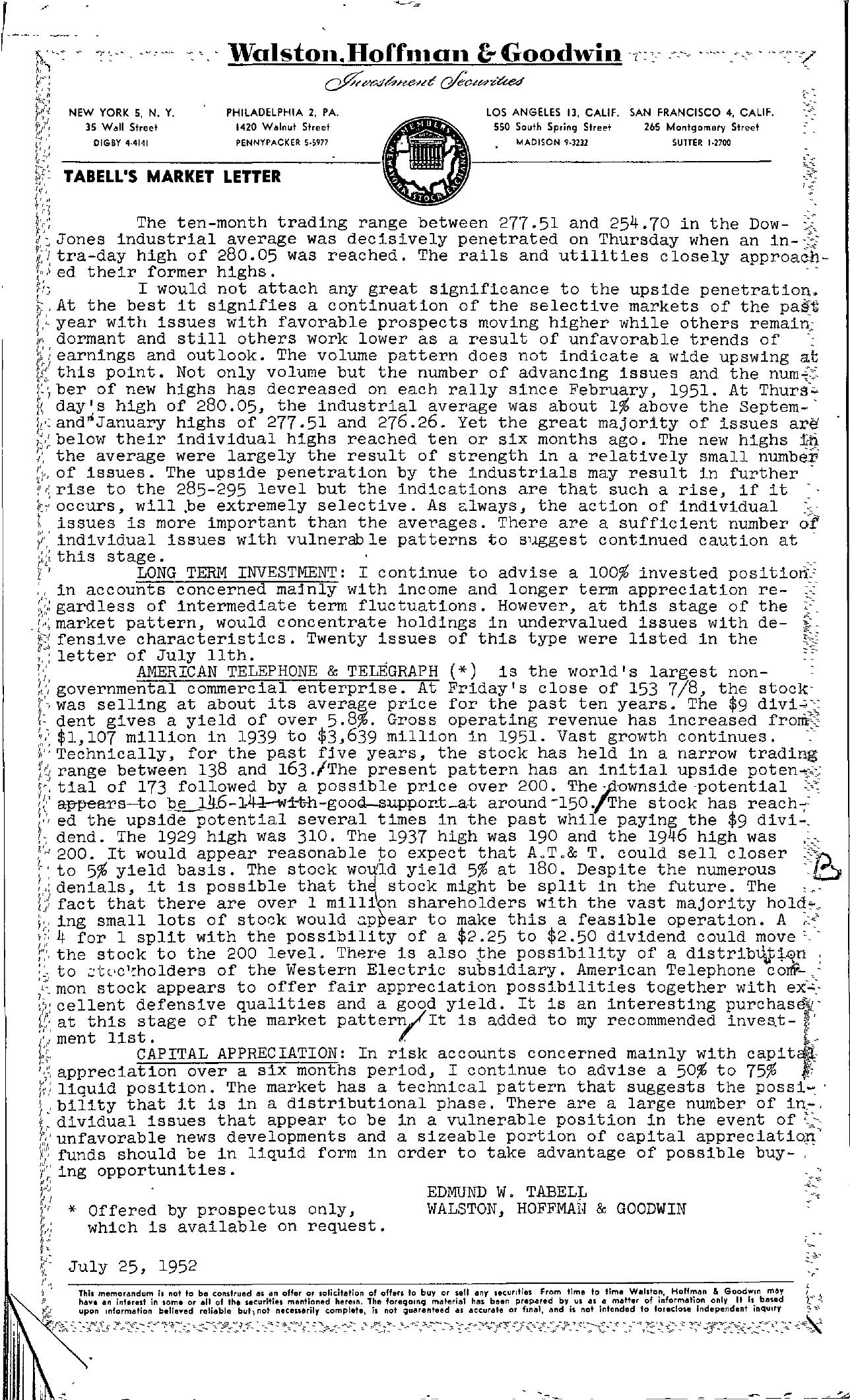 Tabell's Market Letter - July 25, 1952