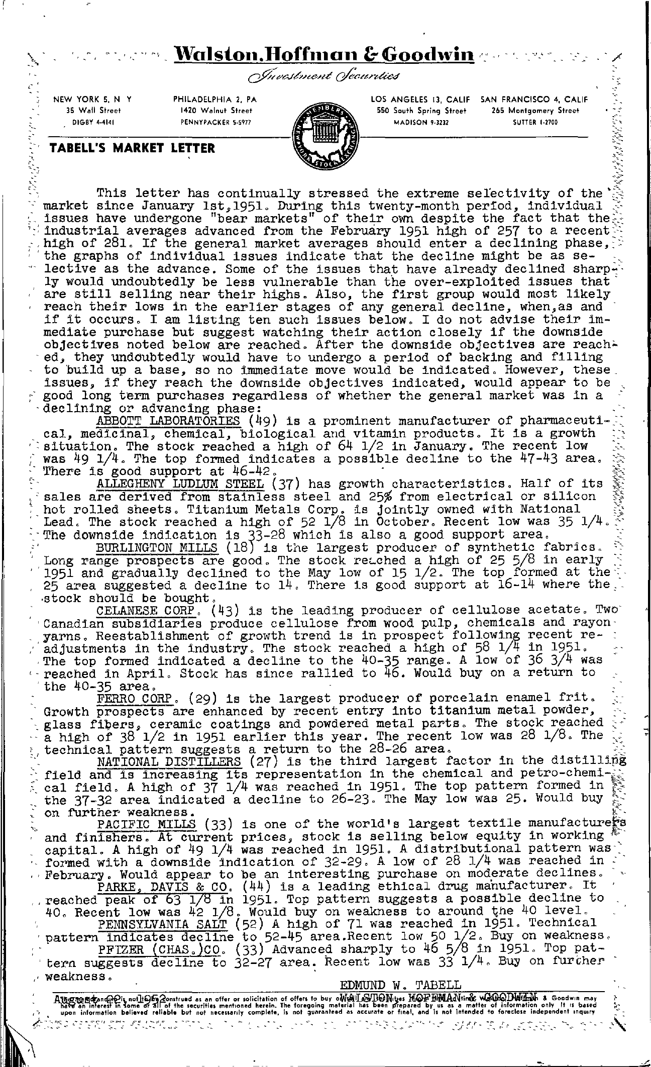 Tabell's Market Letter - August 22, 1952