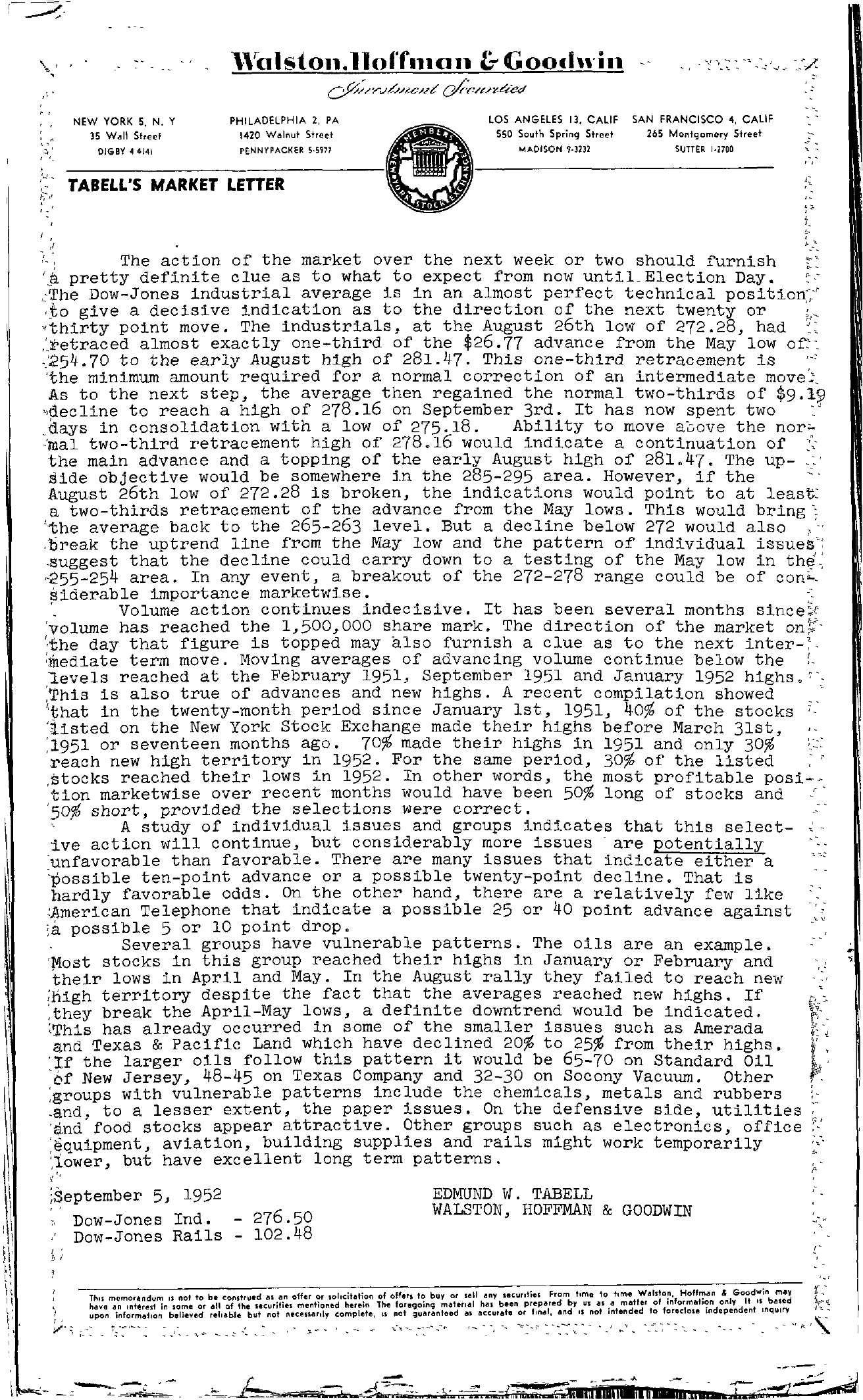 Tabell's Market Letter - September 05, 1952