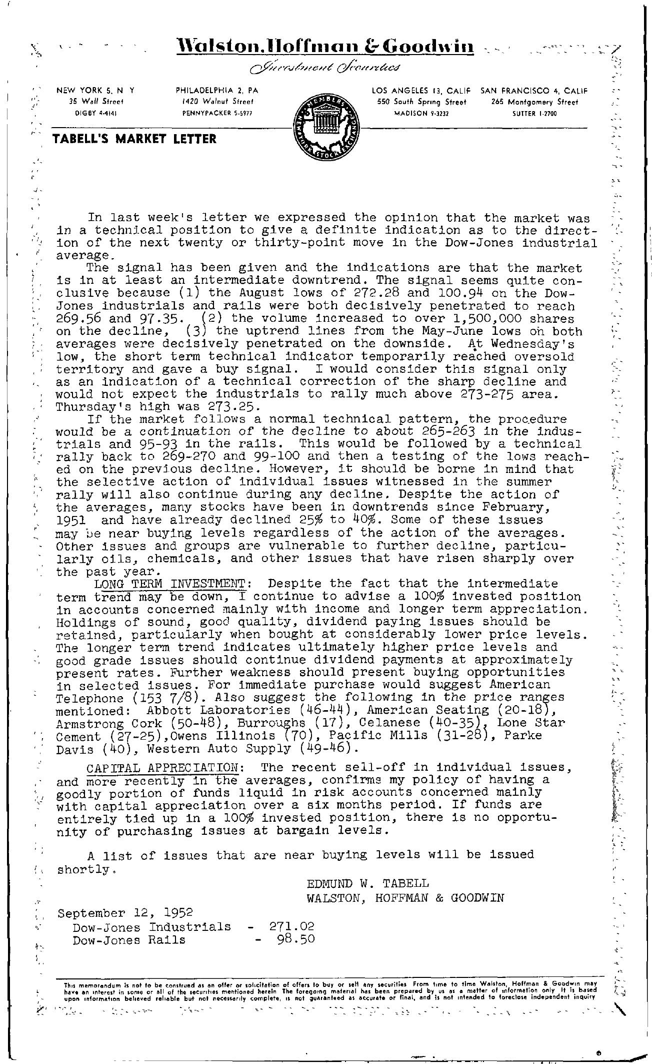 Tabell's Market Letter - September 12, 1952