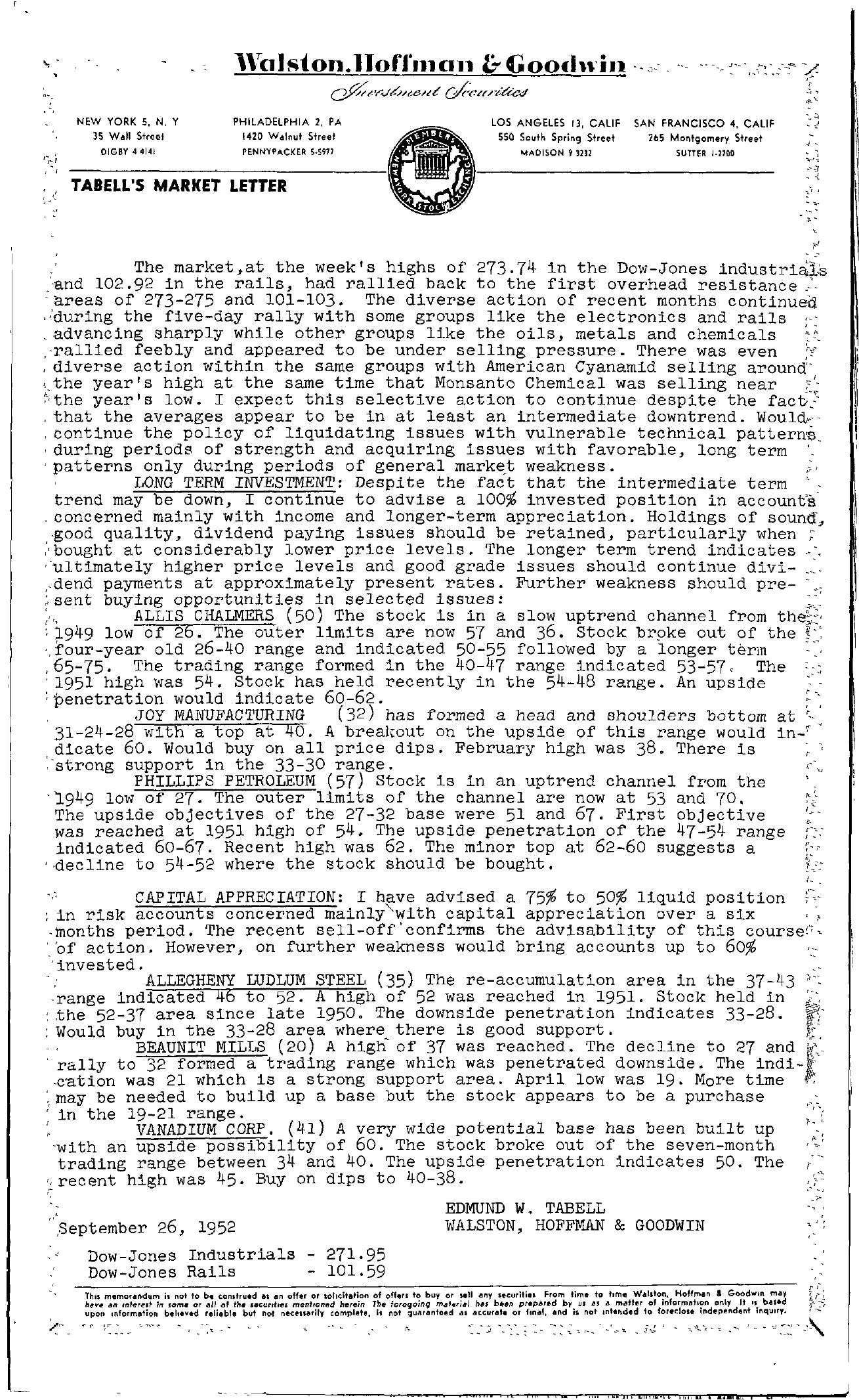 Tabell's Market Letter - September 26, 1952