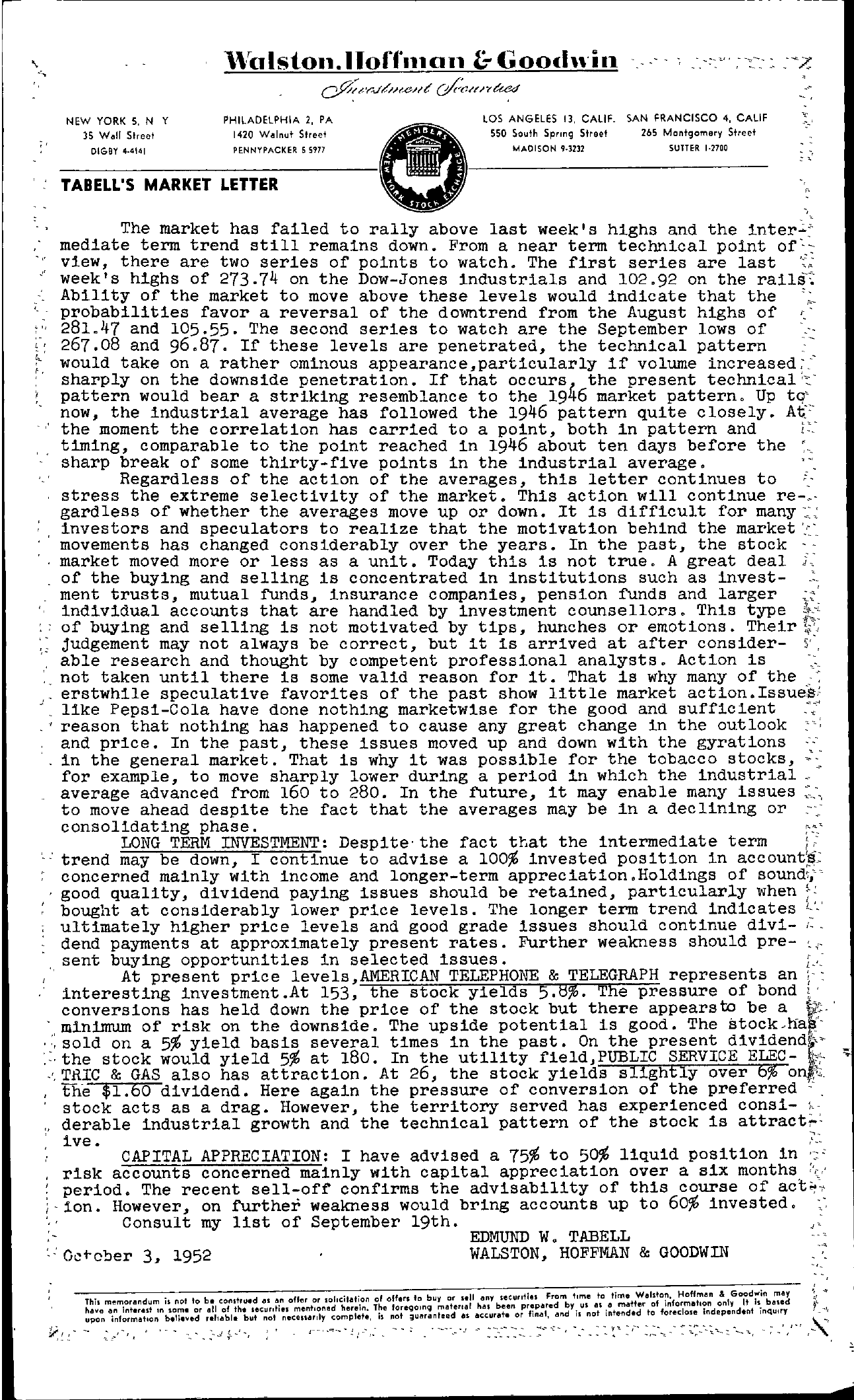 Tabell's Market Letter - October 03, 1952