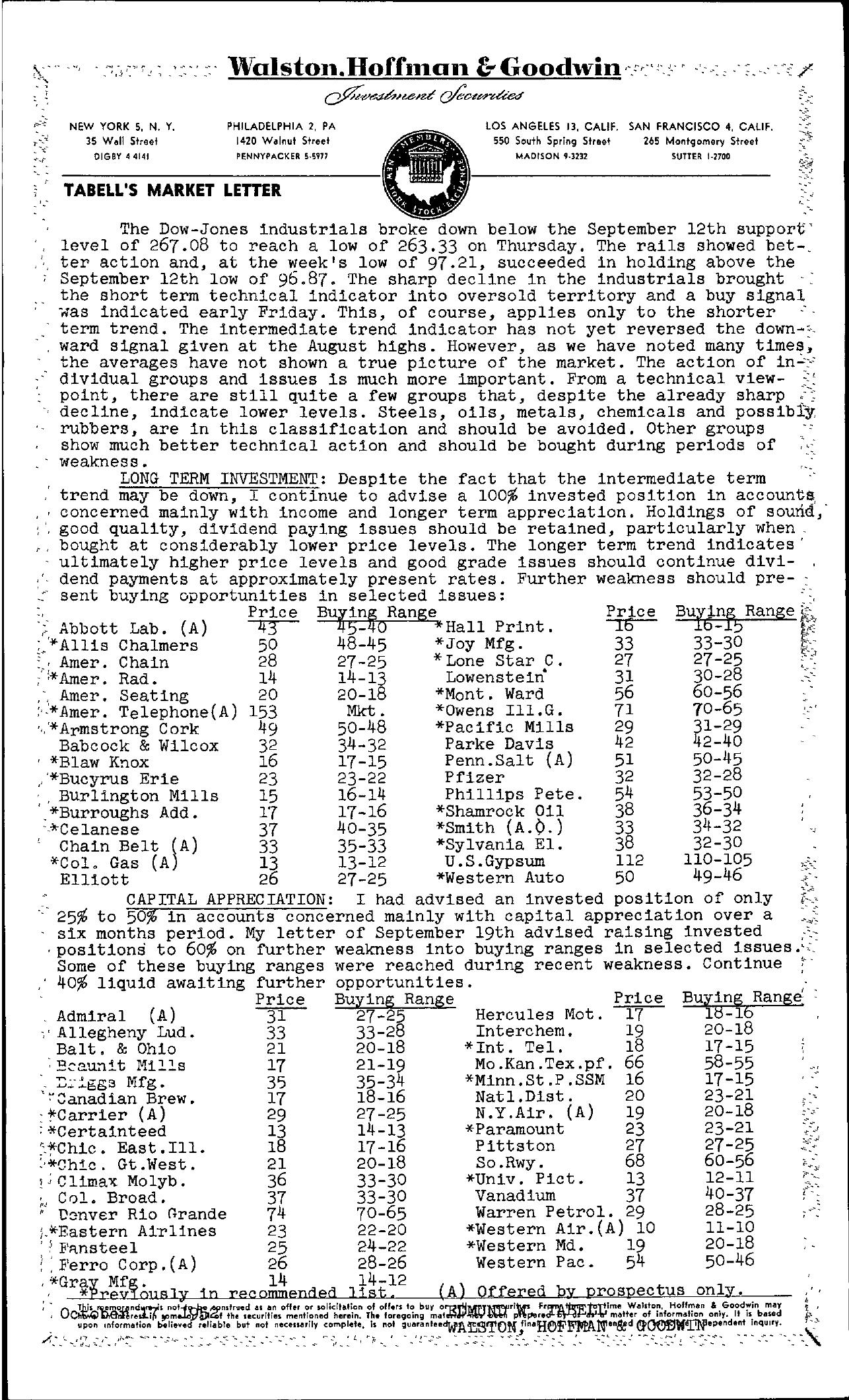 Tabell's Market Letter - October 17, 1952