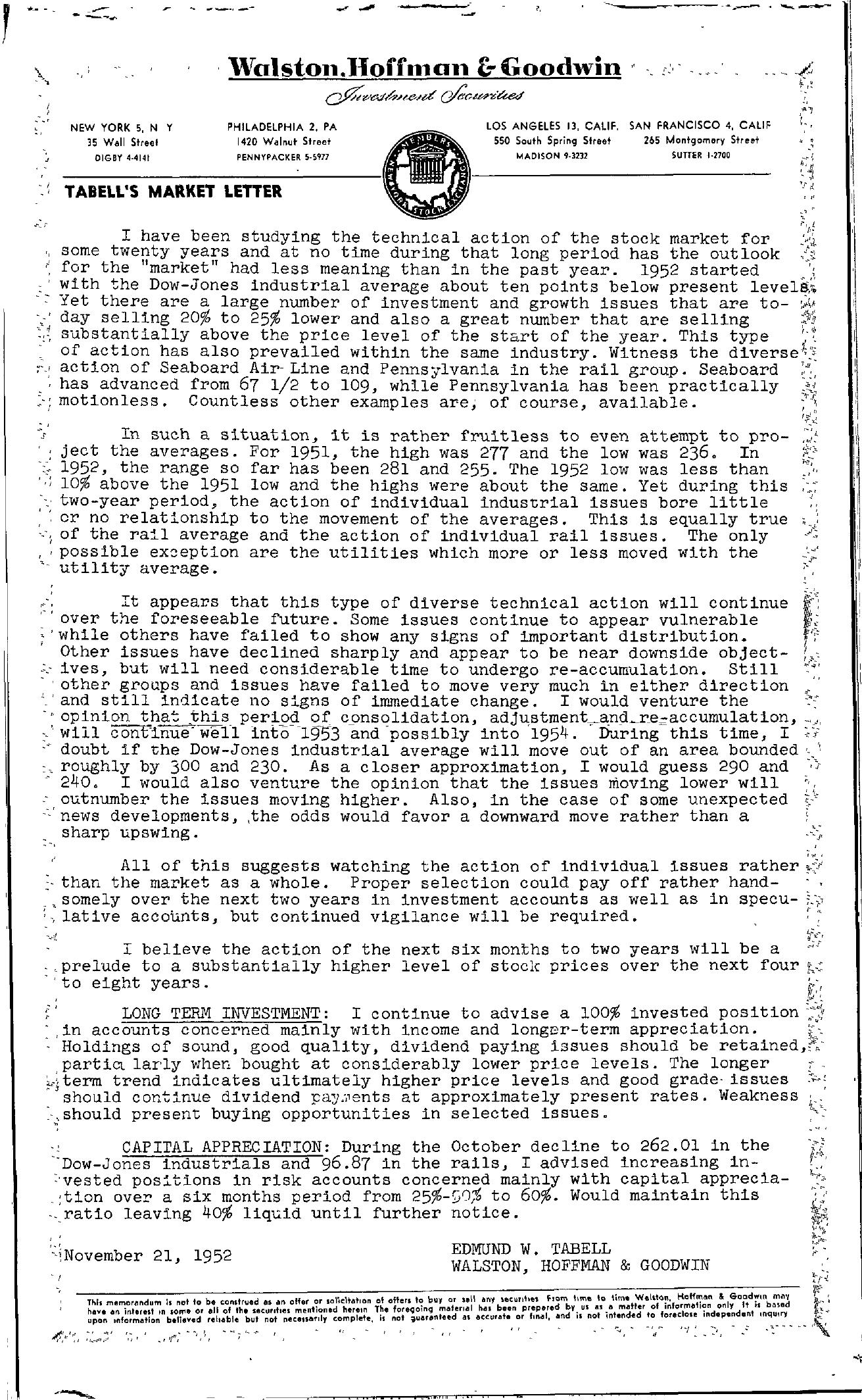 Tabell's Market Letter - November 21, 1952