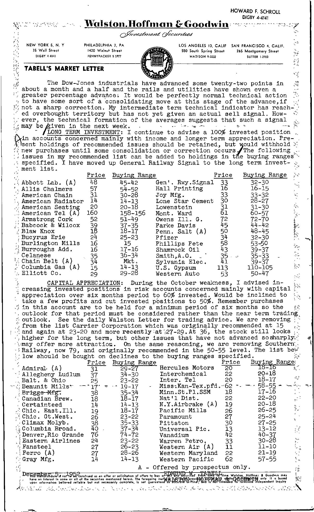 Tabell's Market Letter - December 05, 1952