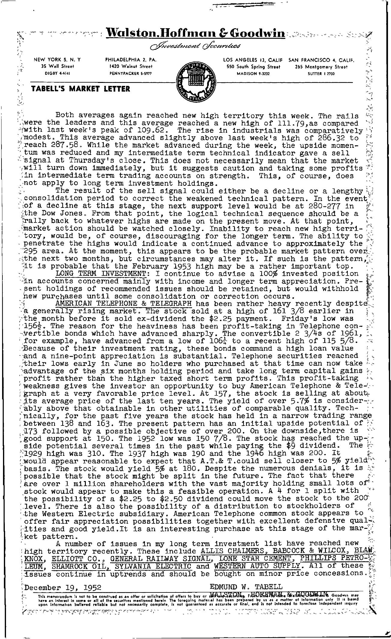 Tabell's Market Letter - December 19, 1952