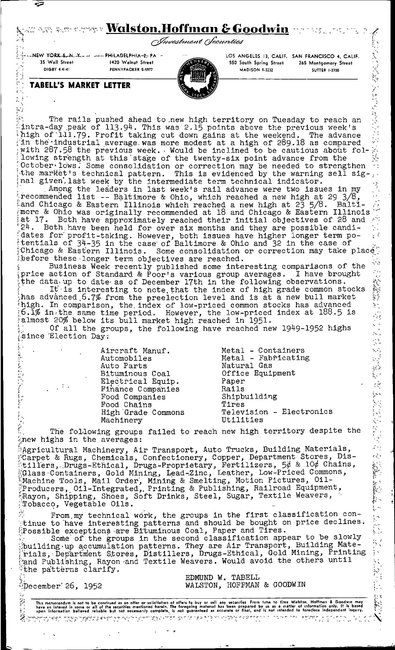 Tabell's Market Letter - December 26, 1952