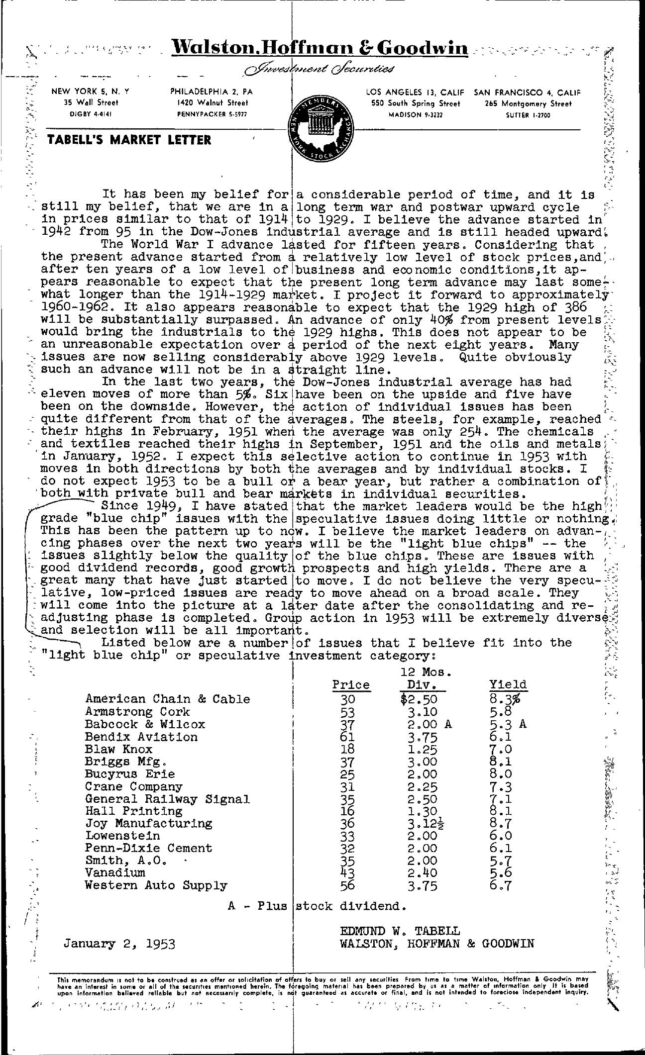 Tabell's Market Letter - January 02, 1953