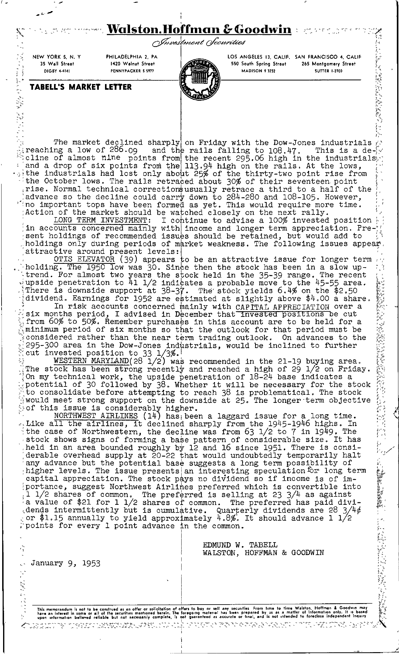 Tabell's Market Letter - January 09, 1953