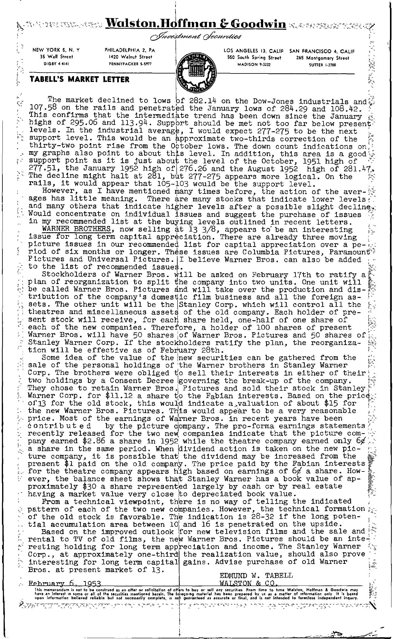 Tabell's Market Letter - February 06, 1953