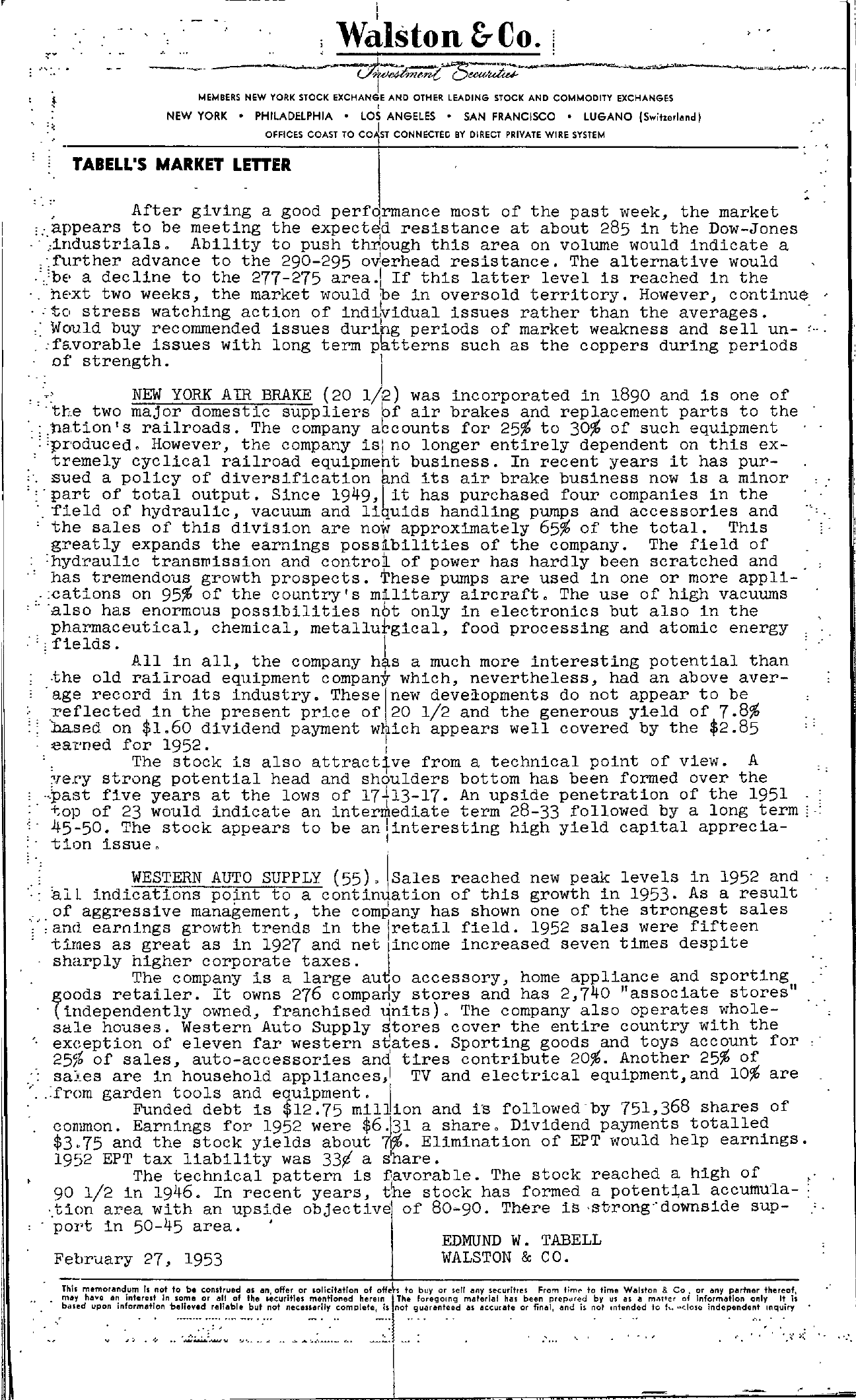 Tabell's Market Letter - February 27, 1953